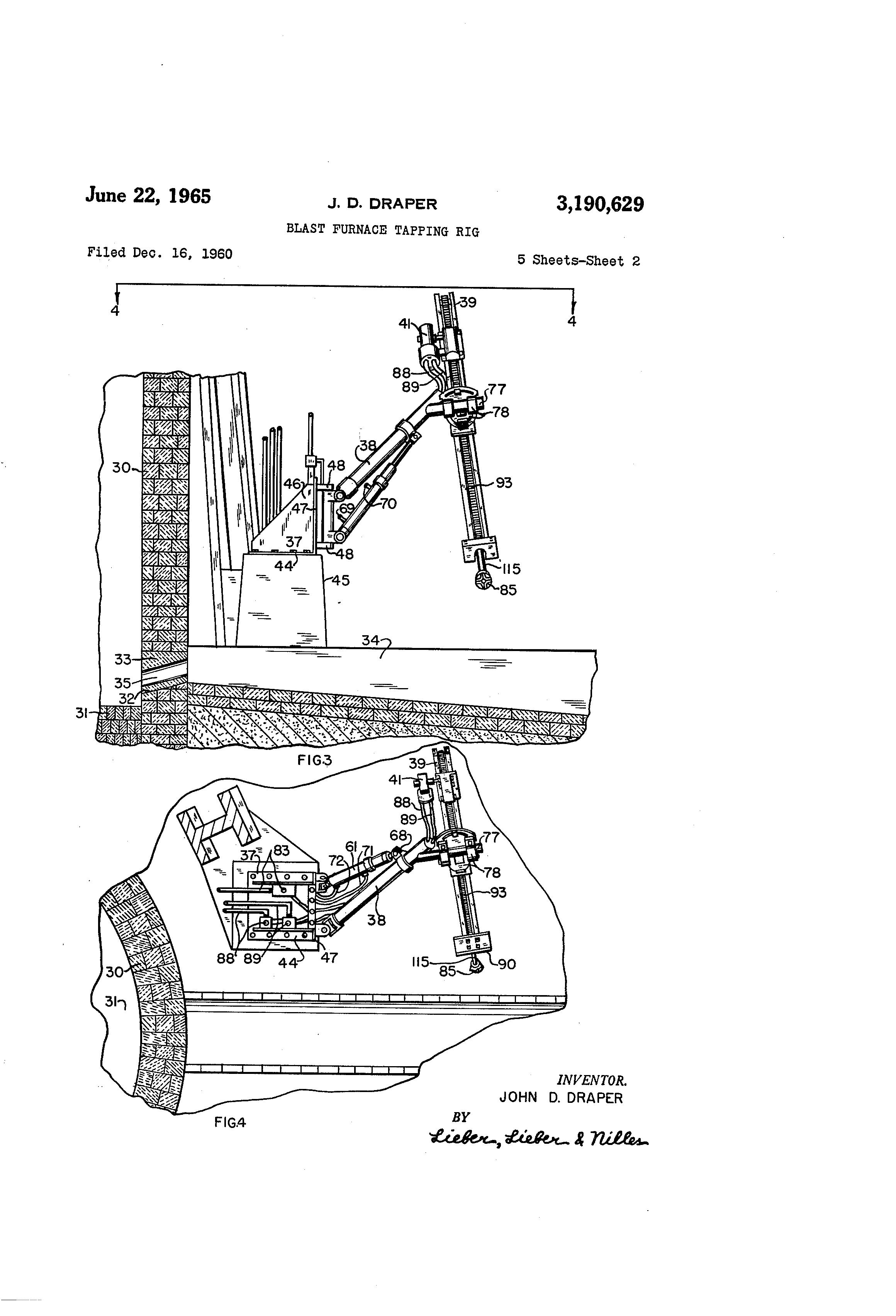 patent us3190629 - draper blast furnace tapping rig