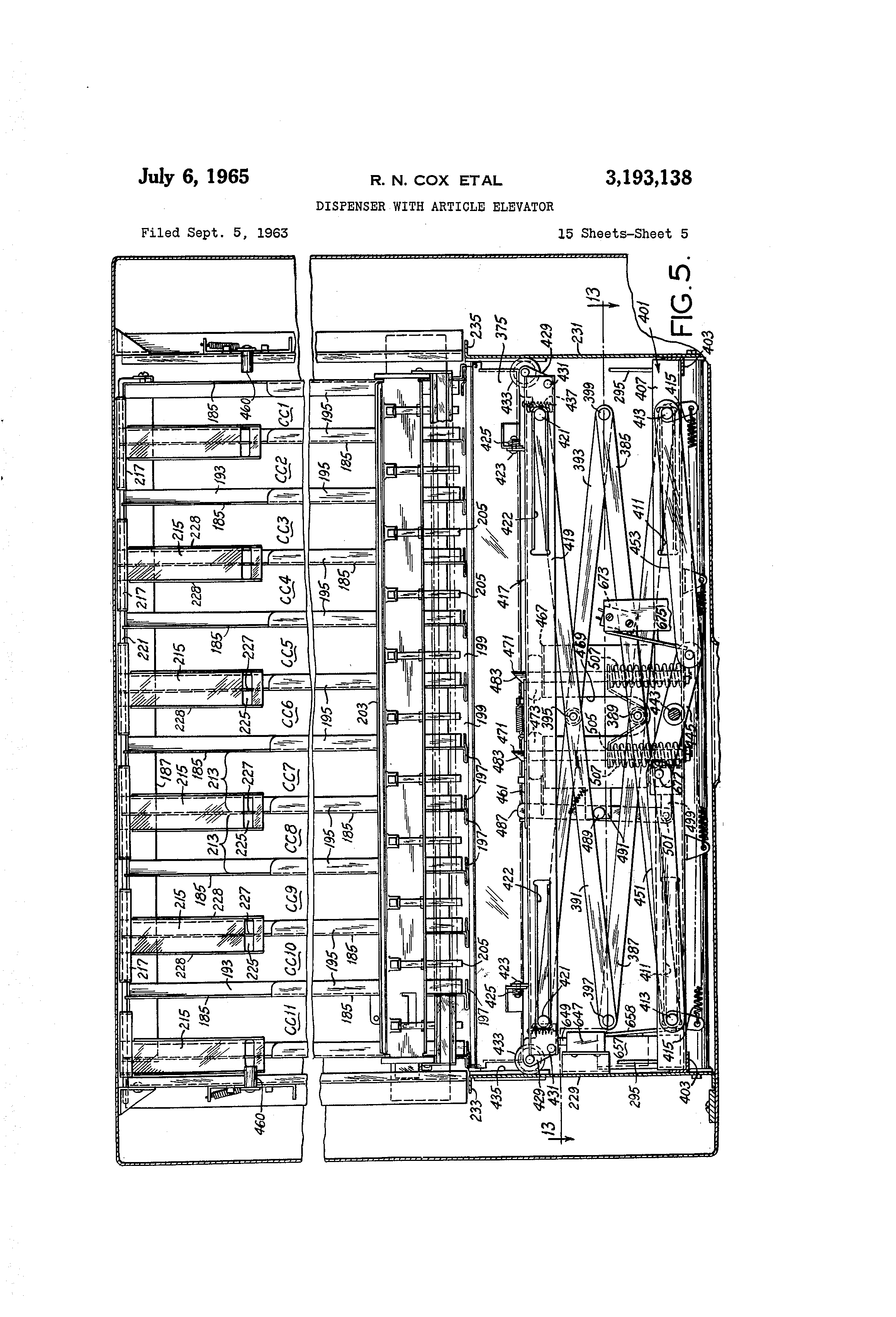 Vendo 63 Wiring Diagram Patent Us3193138 Dispenser With Article Elevator Google Patents Drawing