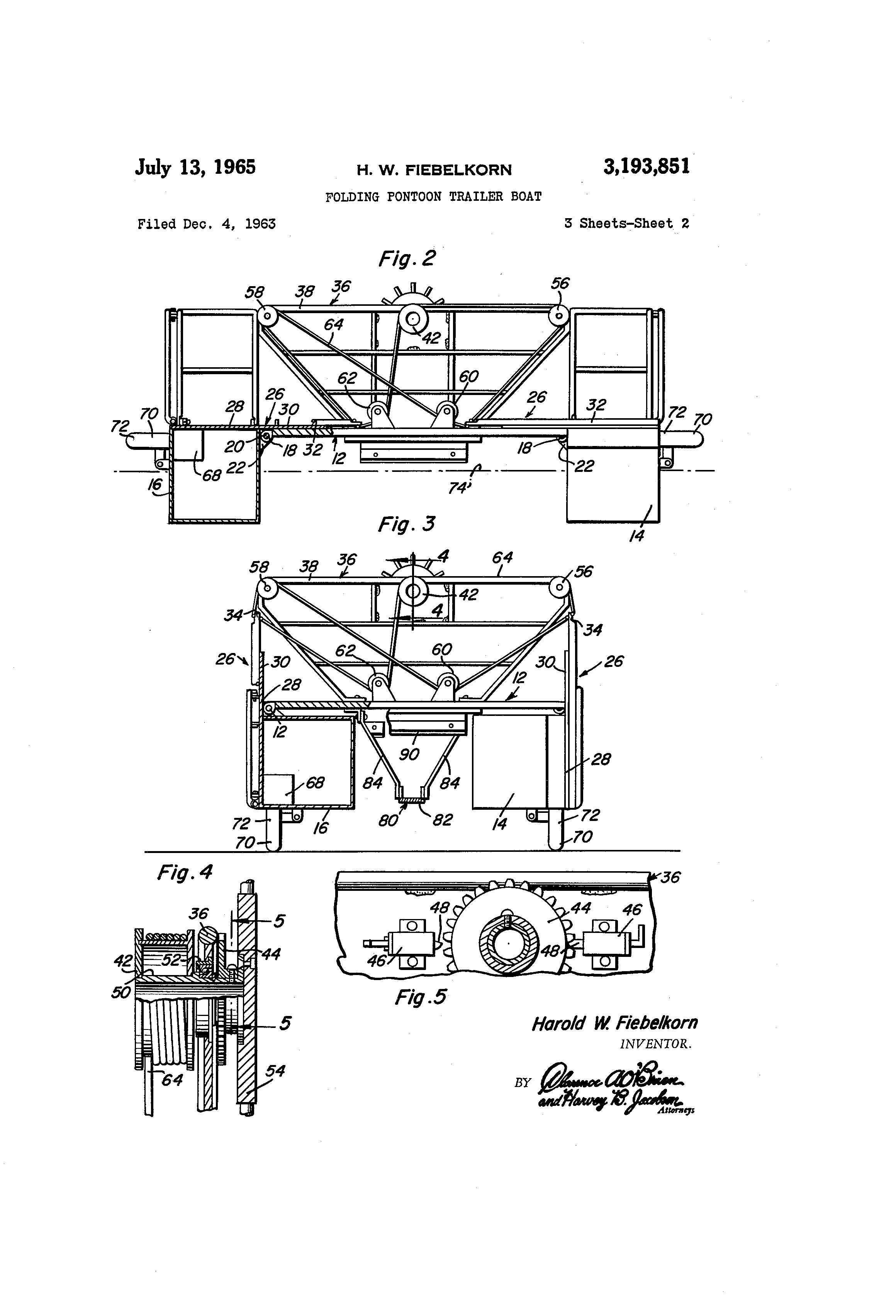 patent us3193851 - folding pontoon trailer boat