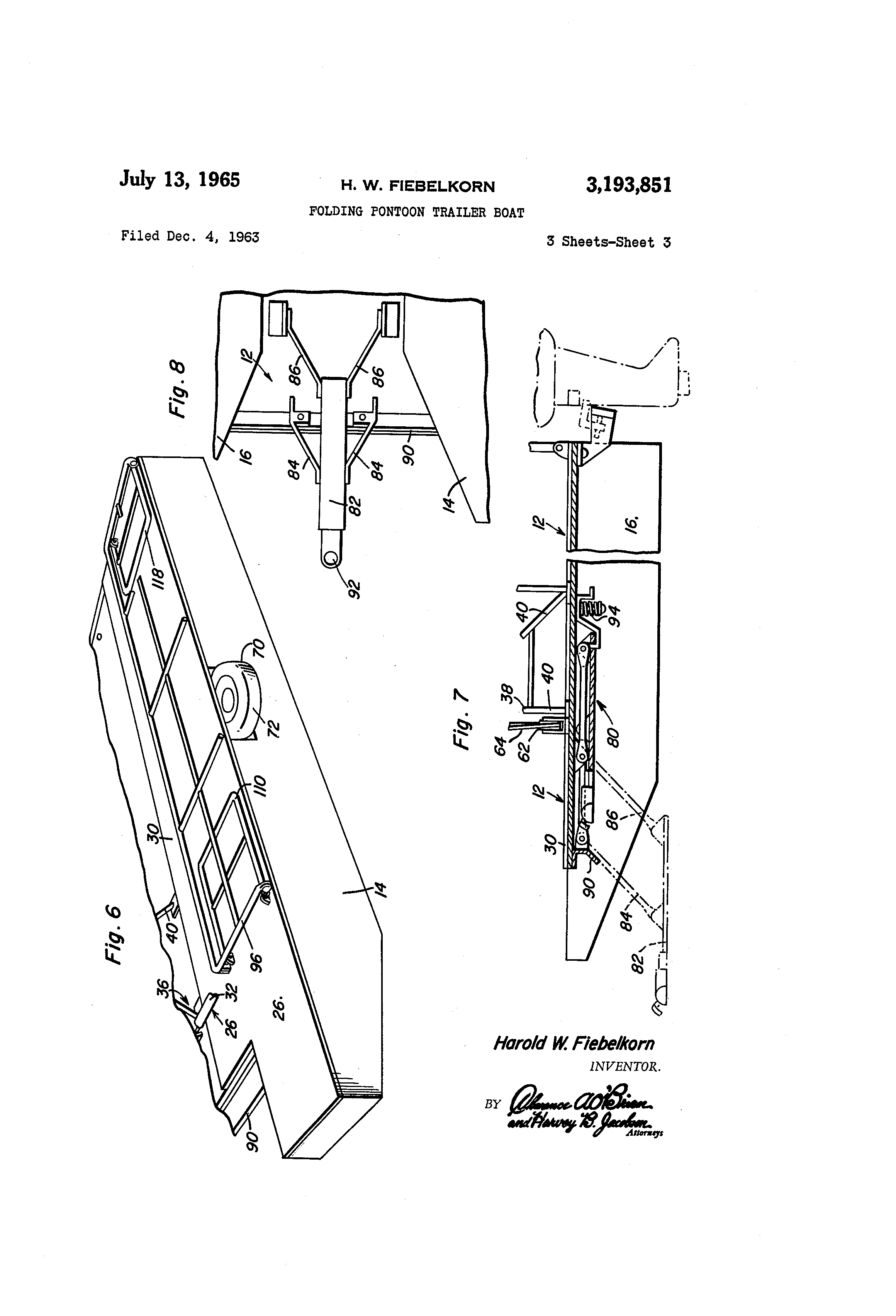 patent us3193851 - folding pontoon trailer boat