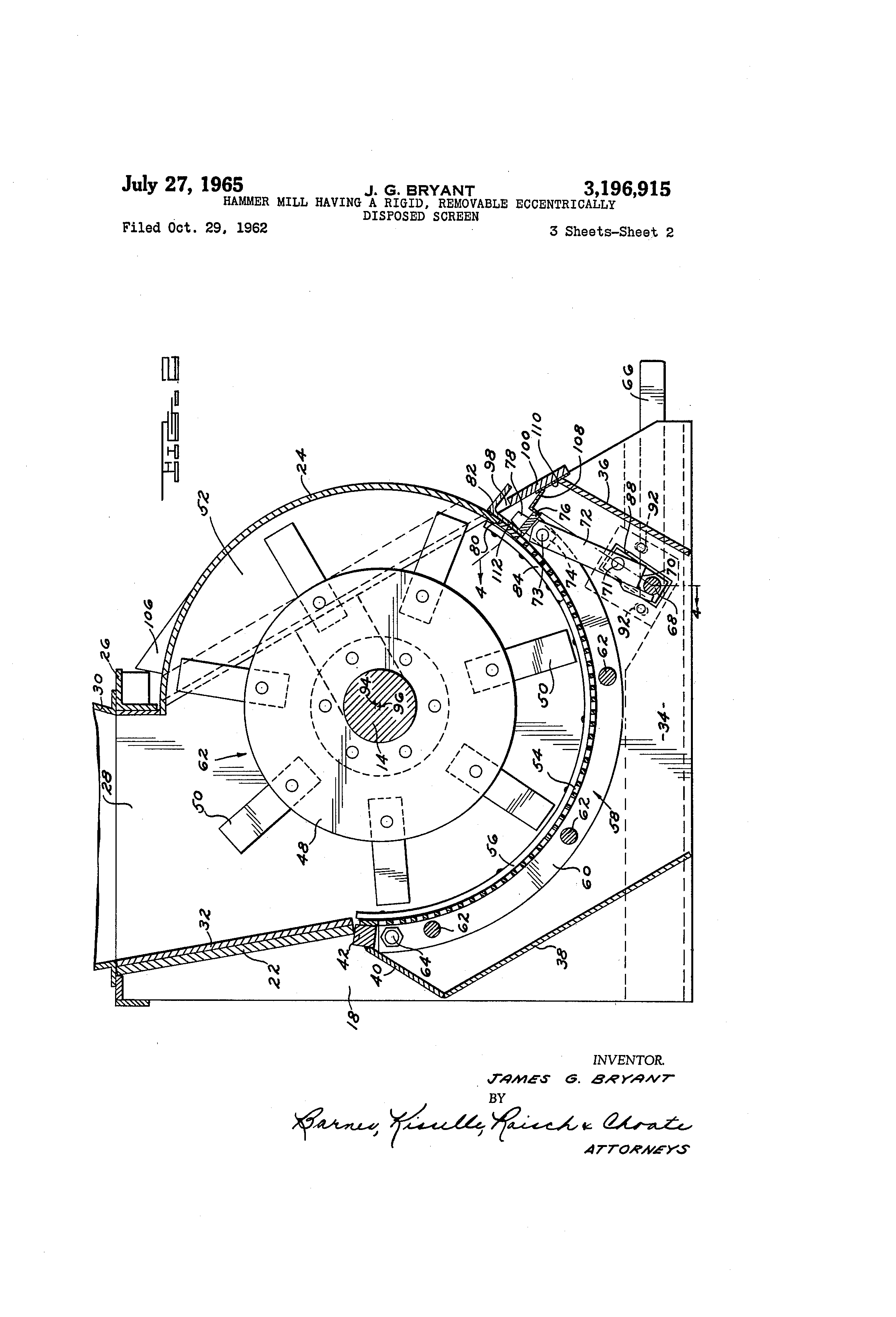 patent us3196915 - hammer mill having a rigid  removable eccentrically disposed screen