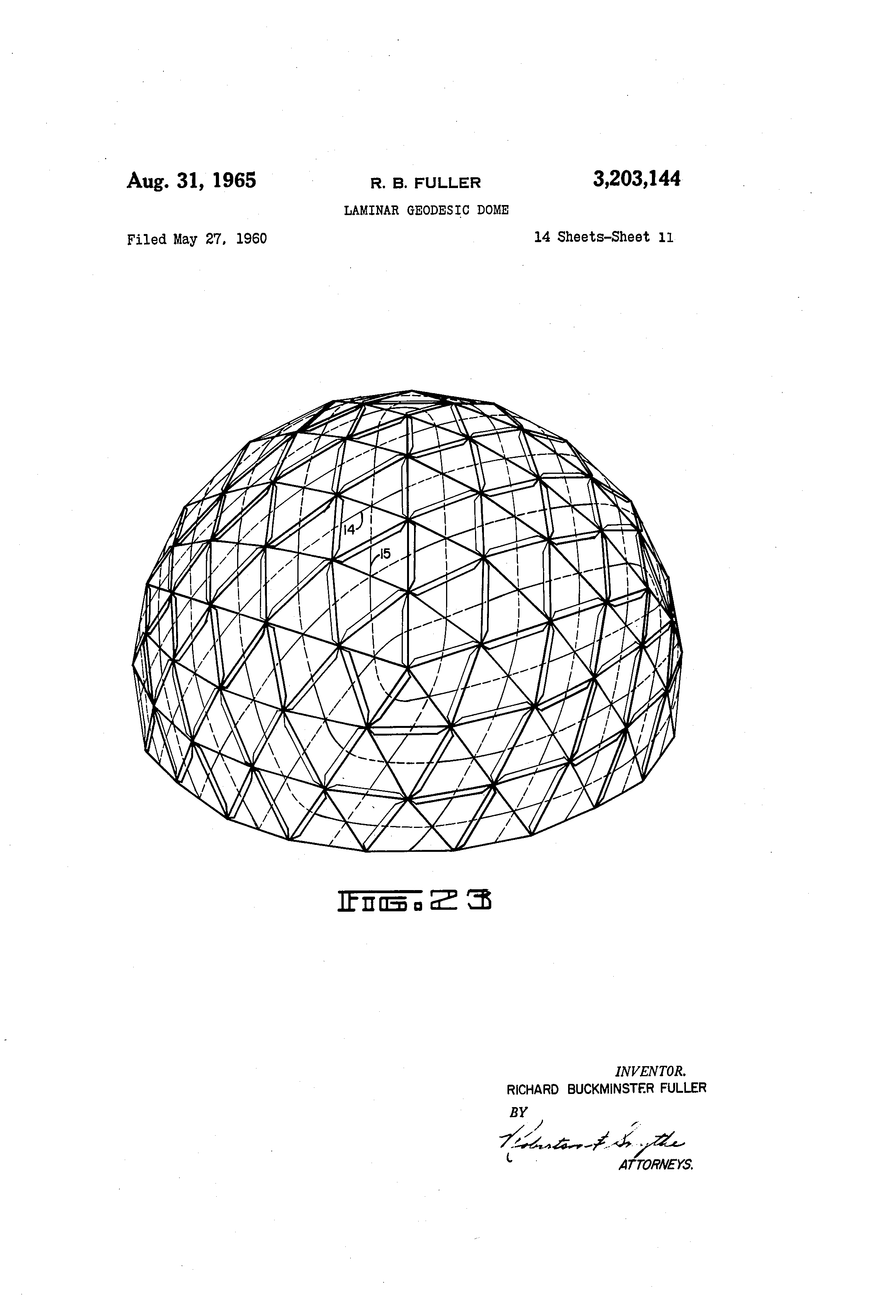 patent us3203144 laminar geodesic dome google patents