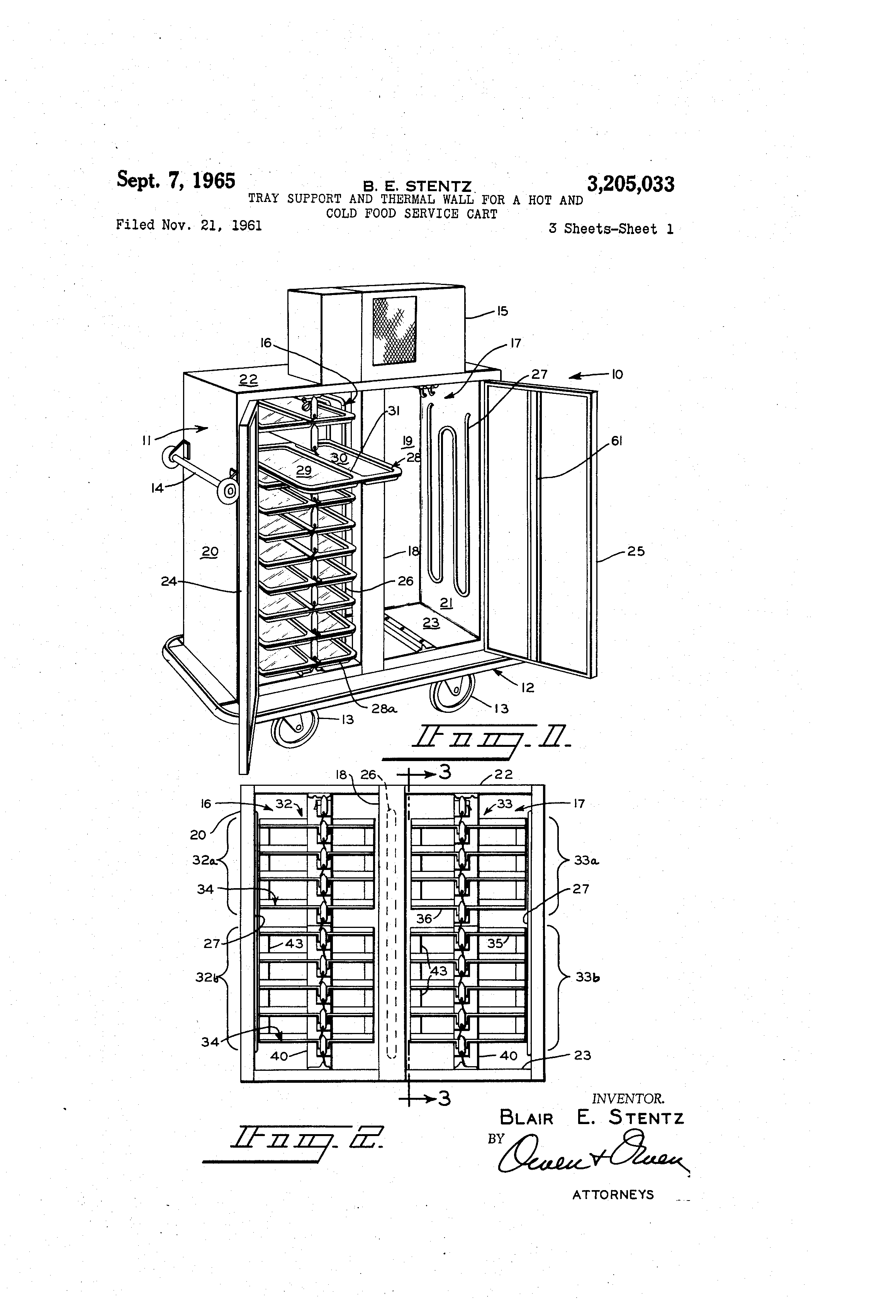 patent us3205033 - tray support and thermal wall for a hot and, Wiring diagram