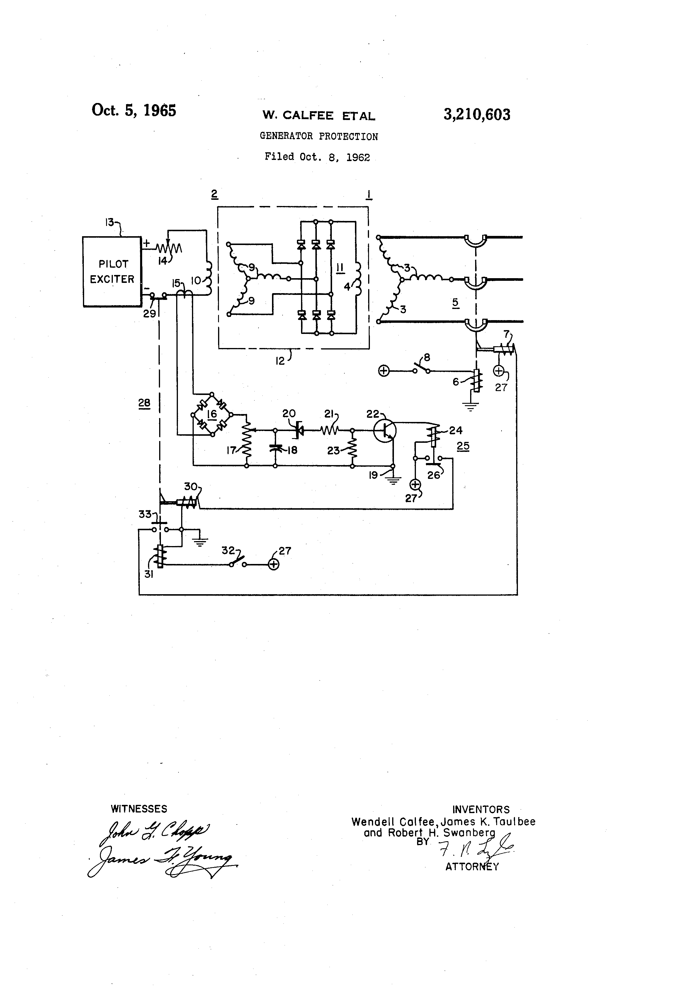 patent us3210603 generator protection google patents patent drawing