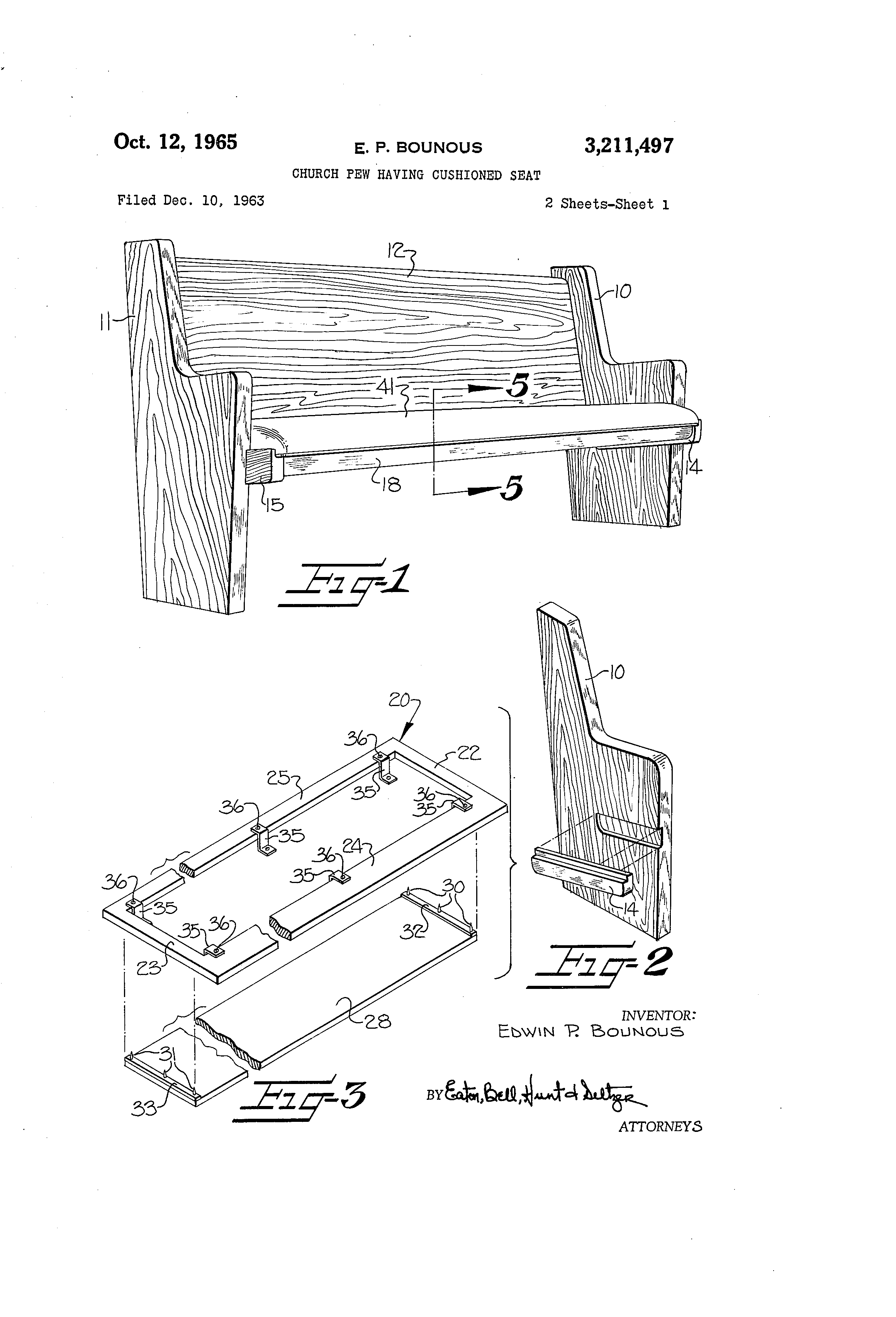 Patent Us3211497 Church Pew Having Cushioned Seat