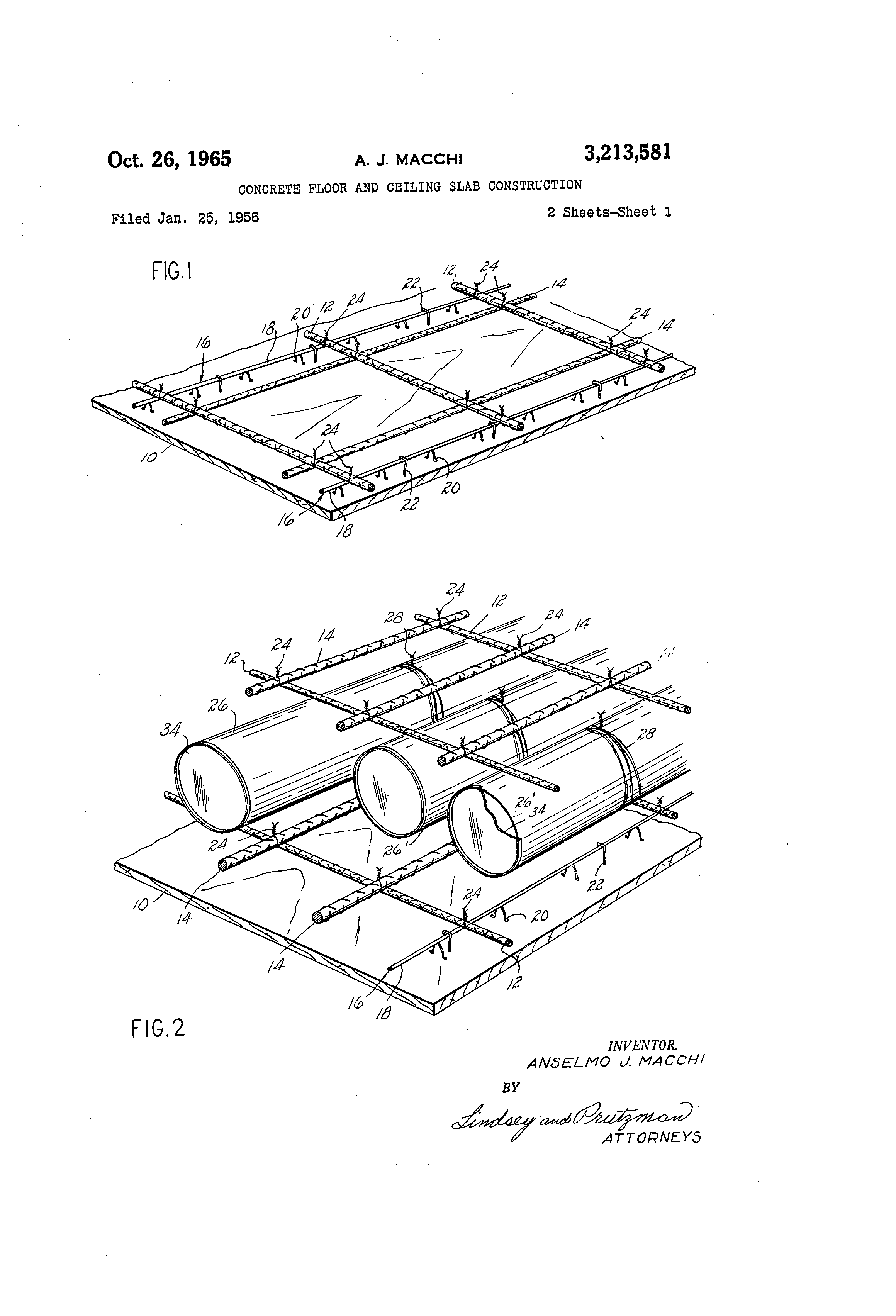Brevet US3213581 - Concrete floor and ceiling slab
