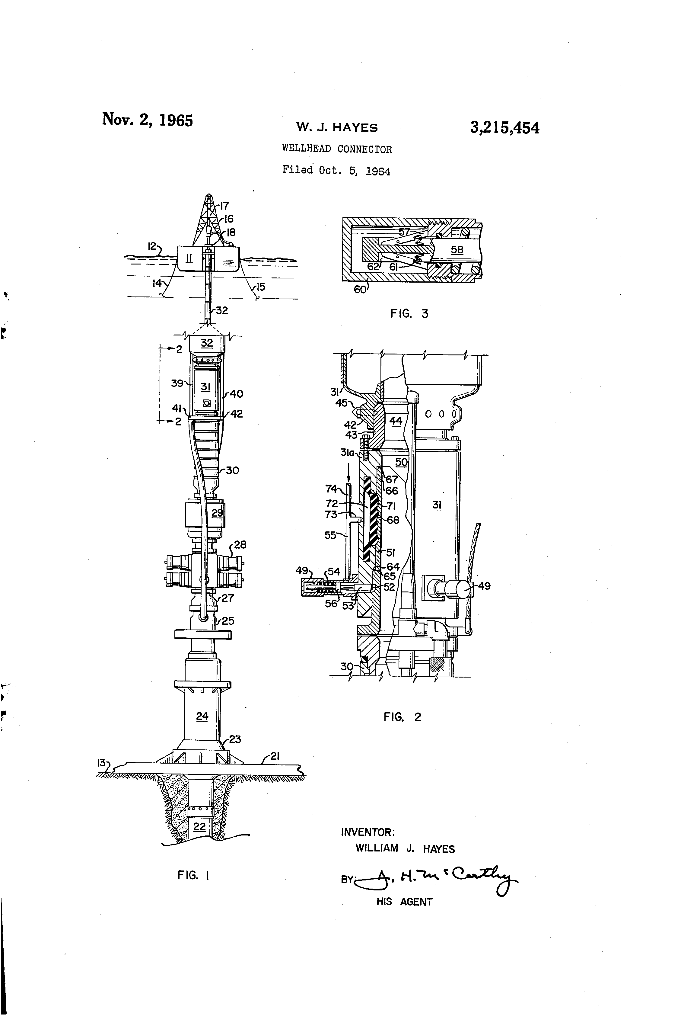 Patent US3215454 - Wellhead connector - Google Patents