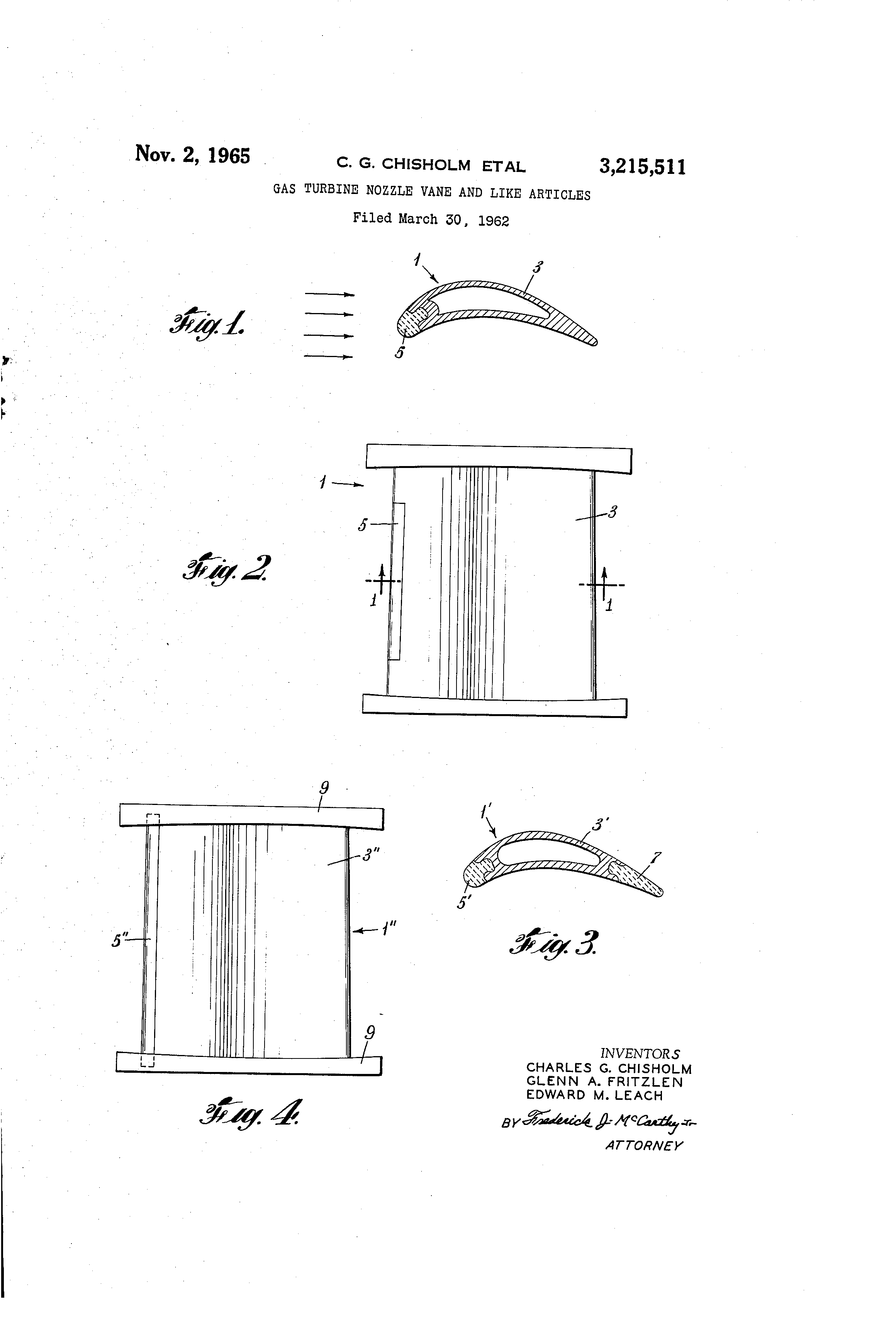 Patent US Gas turbine nozzle vane and like articles