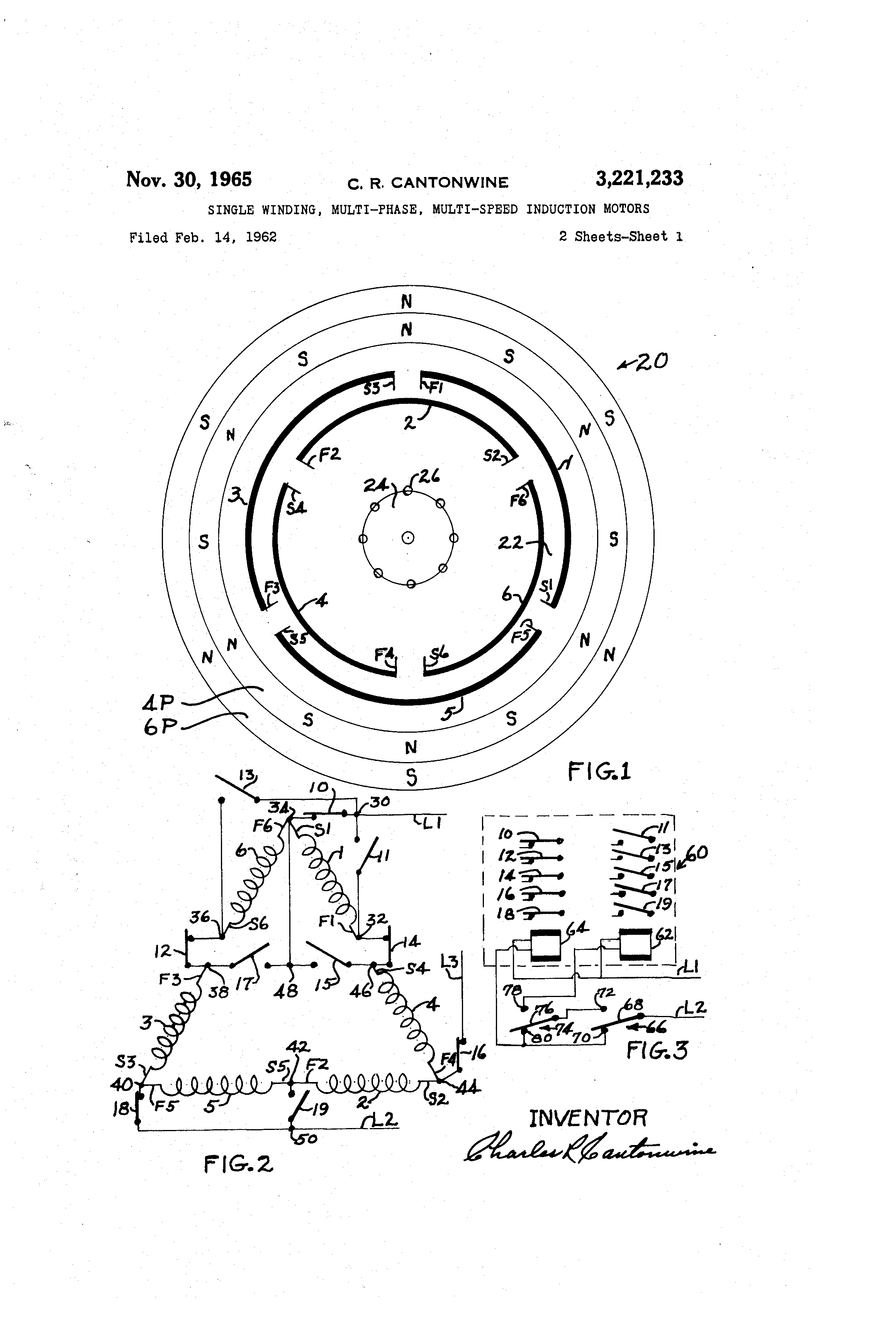 patent us3221233 - single winding  multi-phase  multi-speed induction motors