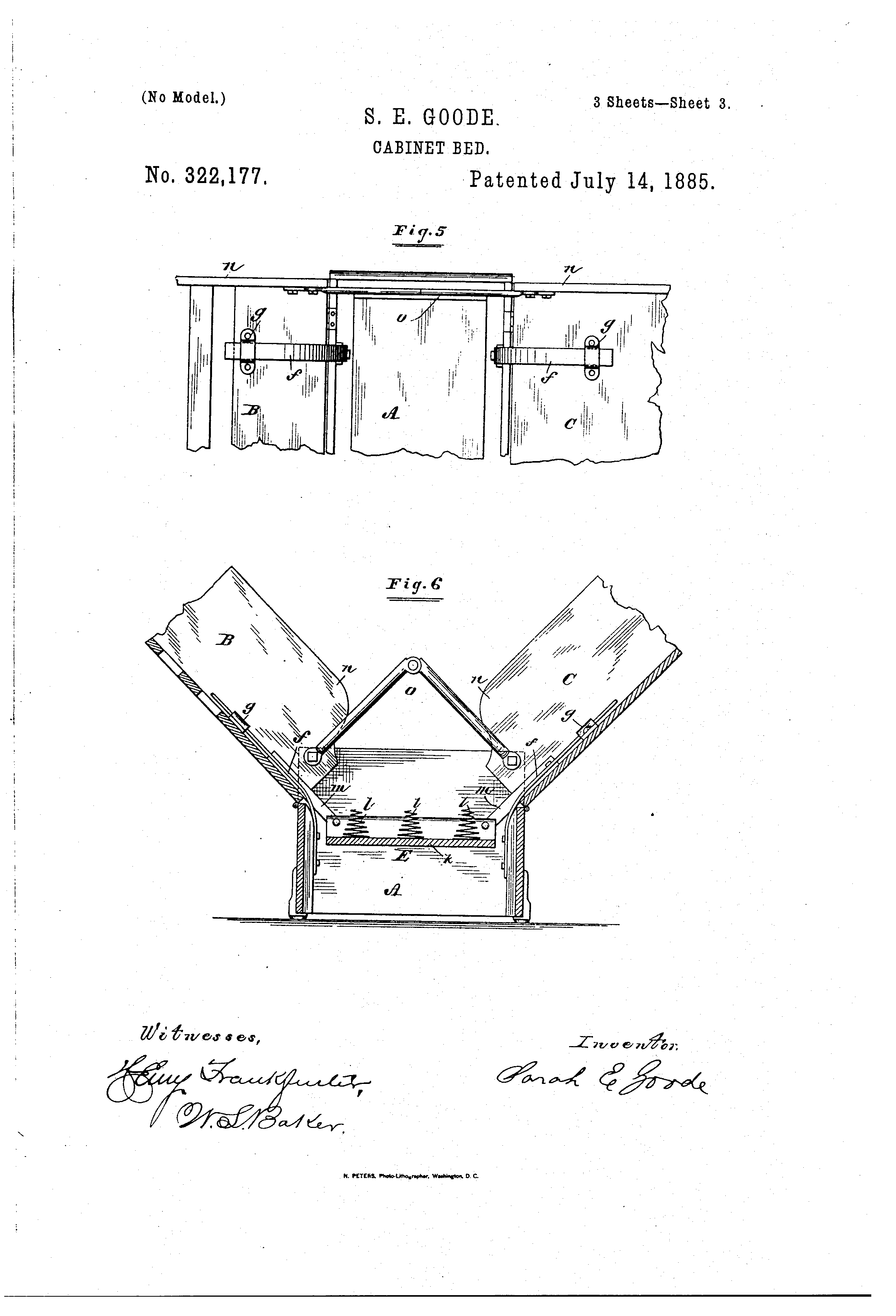 Patent US322177 - Cabinet-bed - Google Patents