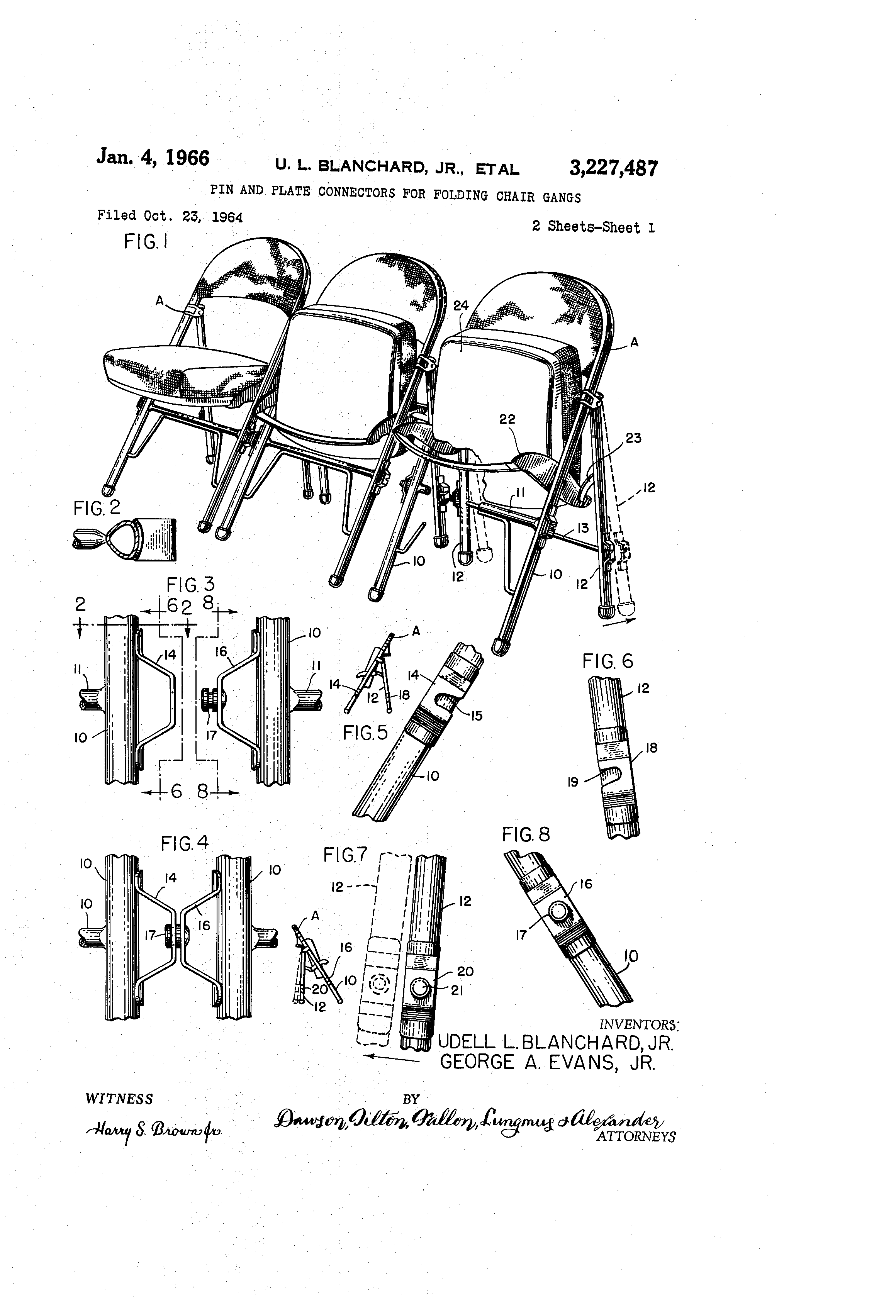 Patent US3227487 Pin and plate connectors for folding chair