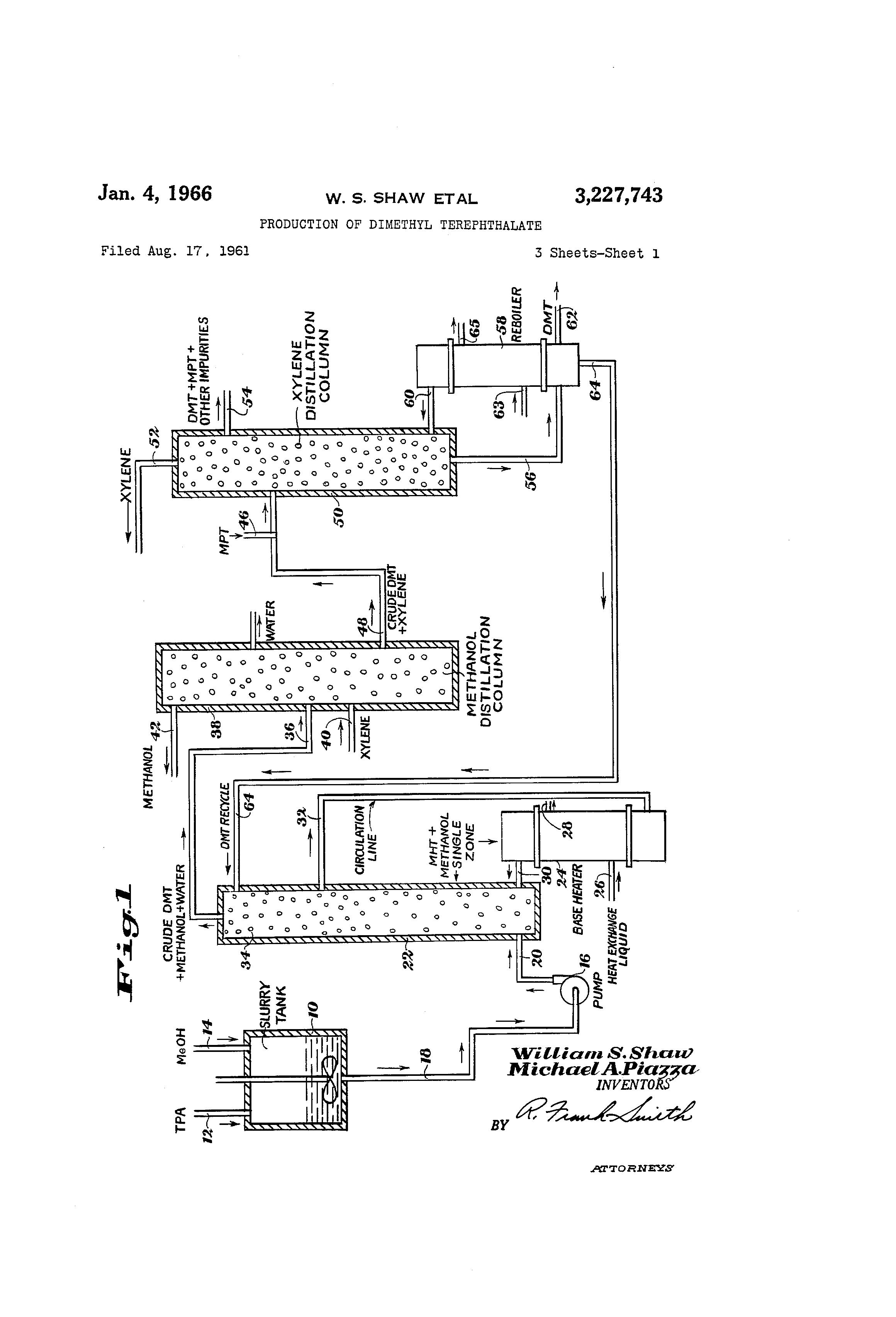 Patent Us3227743 Production Of Dimethyl Terephthalate