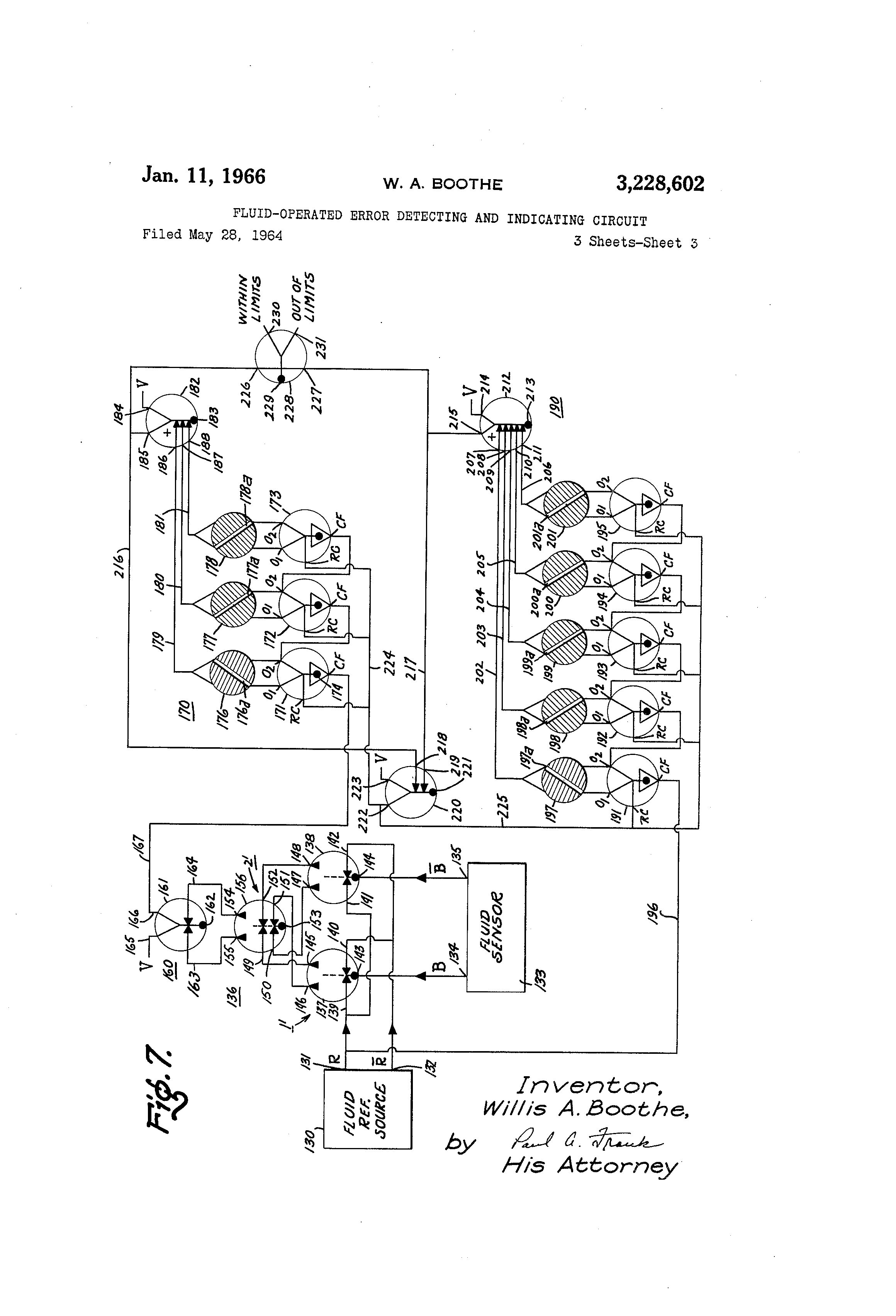 brevet us3228602 fluid operated error detecting and indicating circuit Customer Service Representative Resume Cover Letter patent drawing