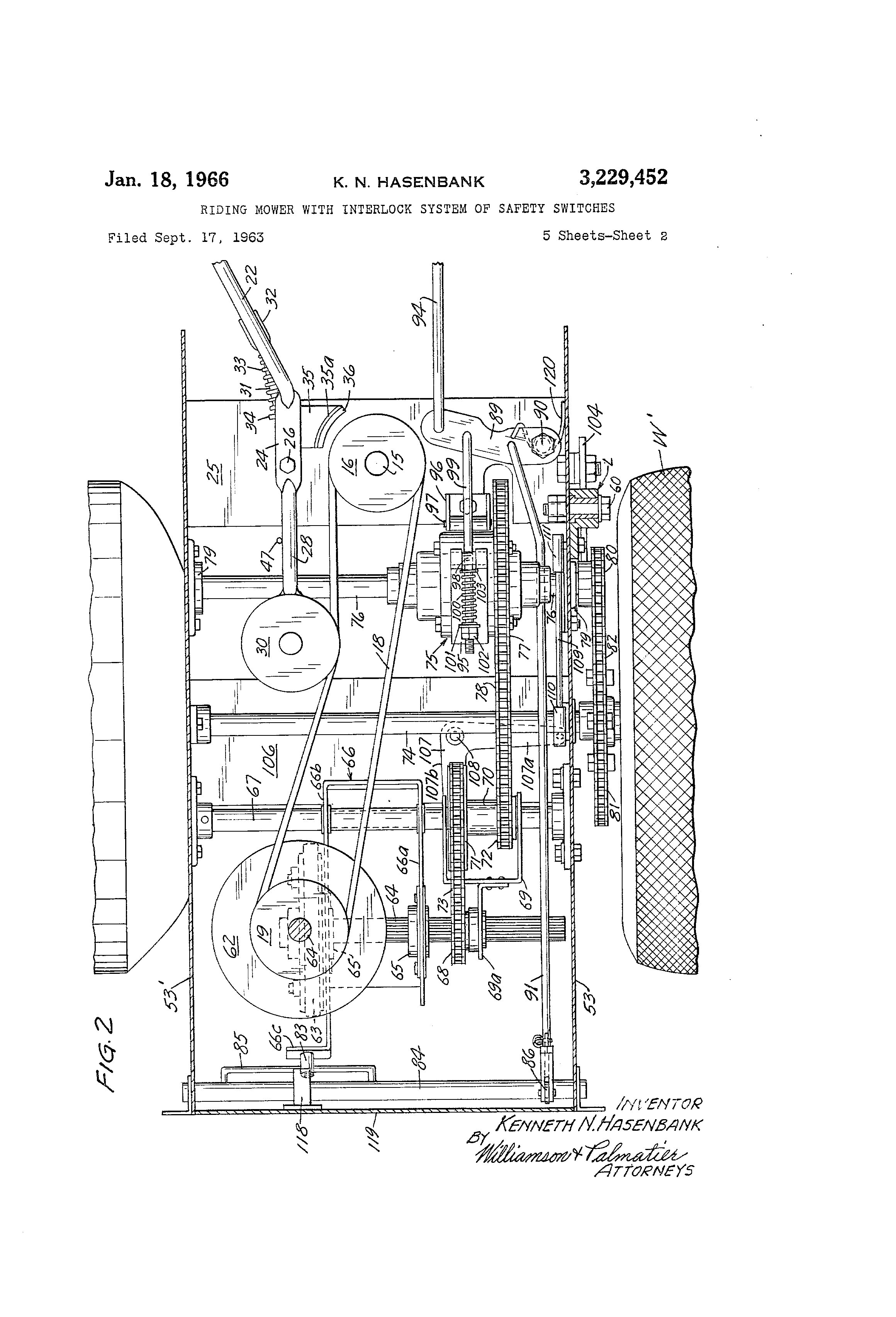 patent us3229452 - riding mower with interlock system of safety switches