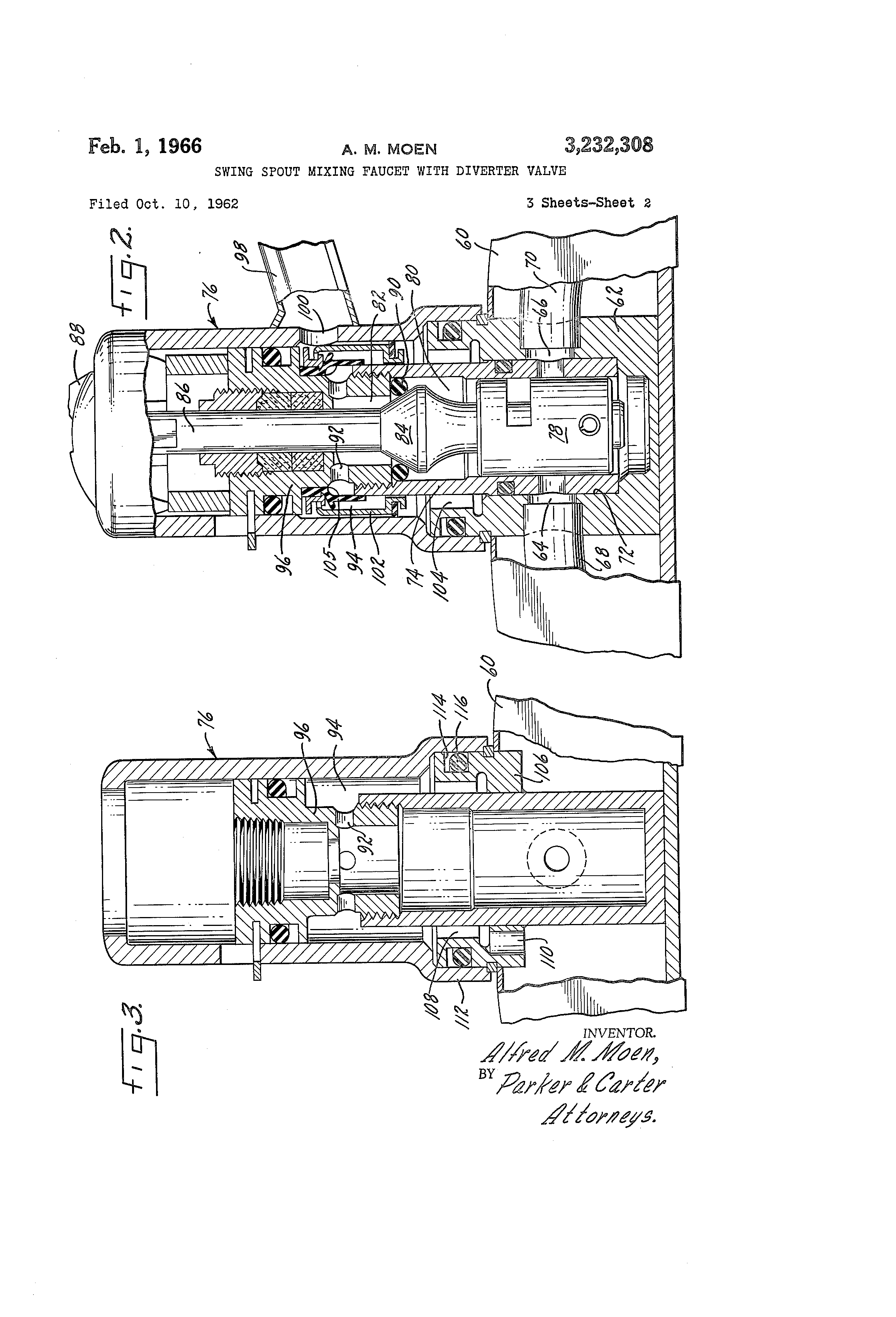 Patent Us3232308 Swing Spout Mixing Faucet With Diverter Valve Schematic Drawing