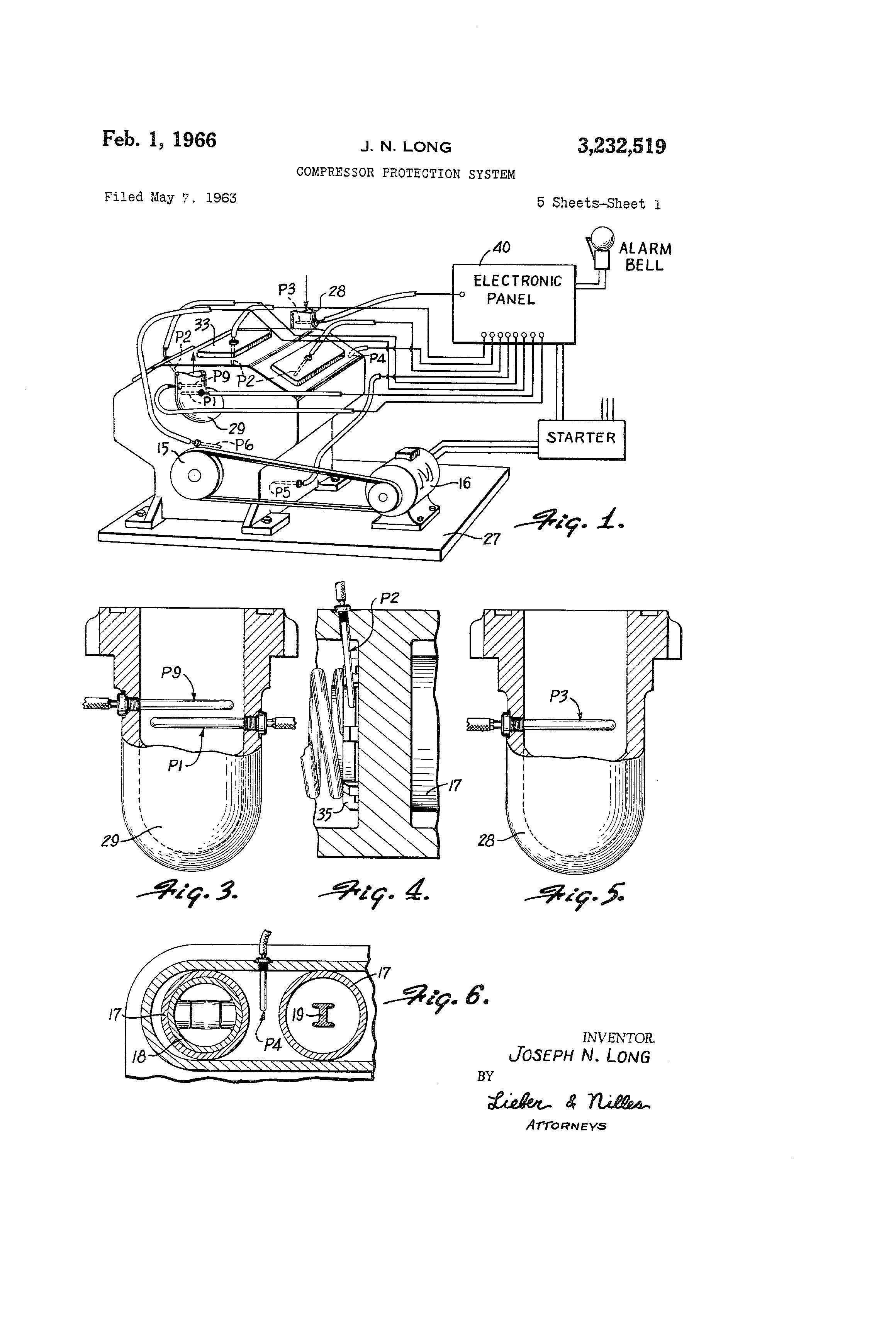 Patent Us3232519 Compressor Protection System Google