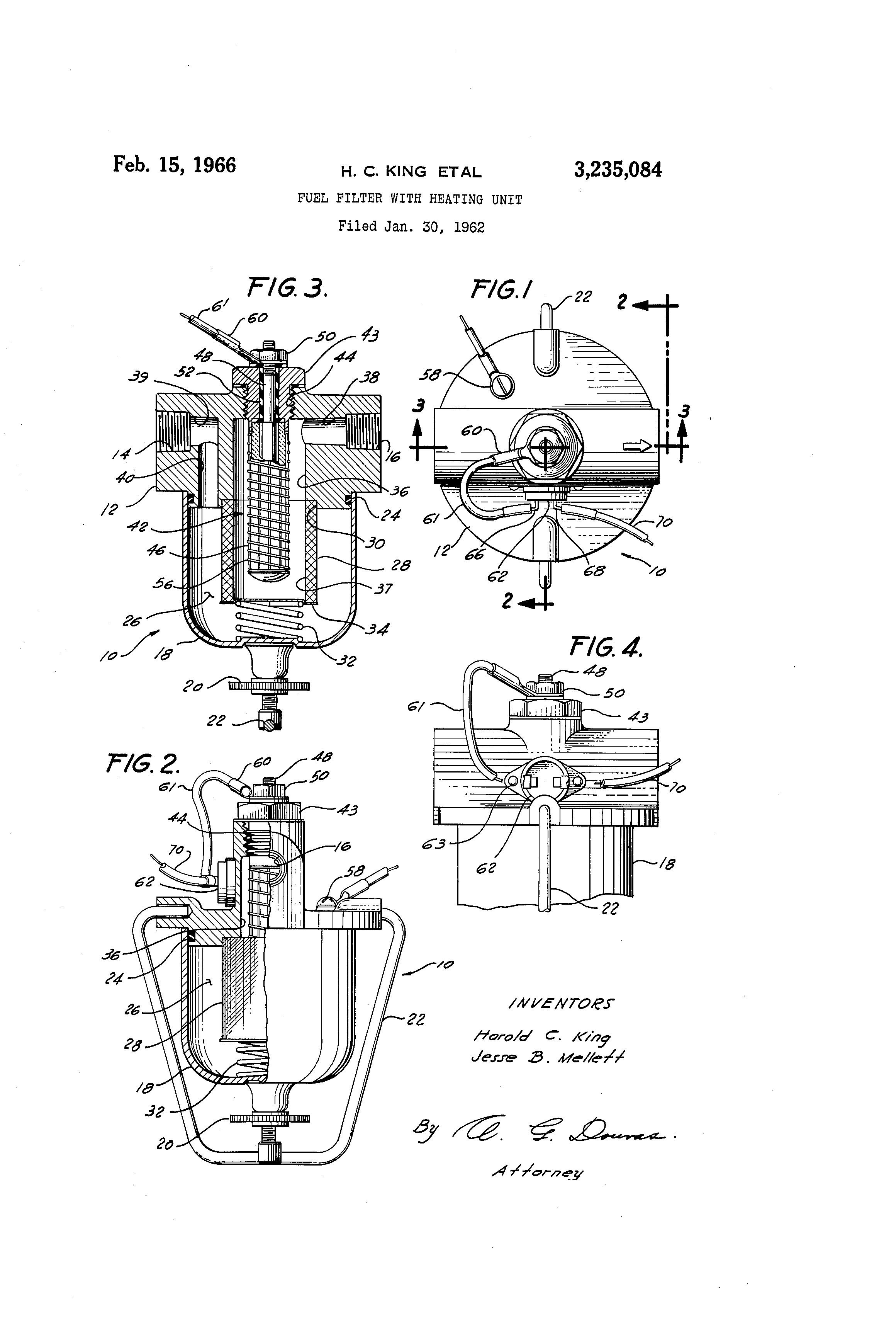 patent us3235084 - fuel filter with heating unit