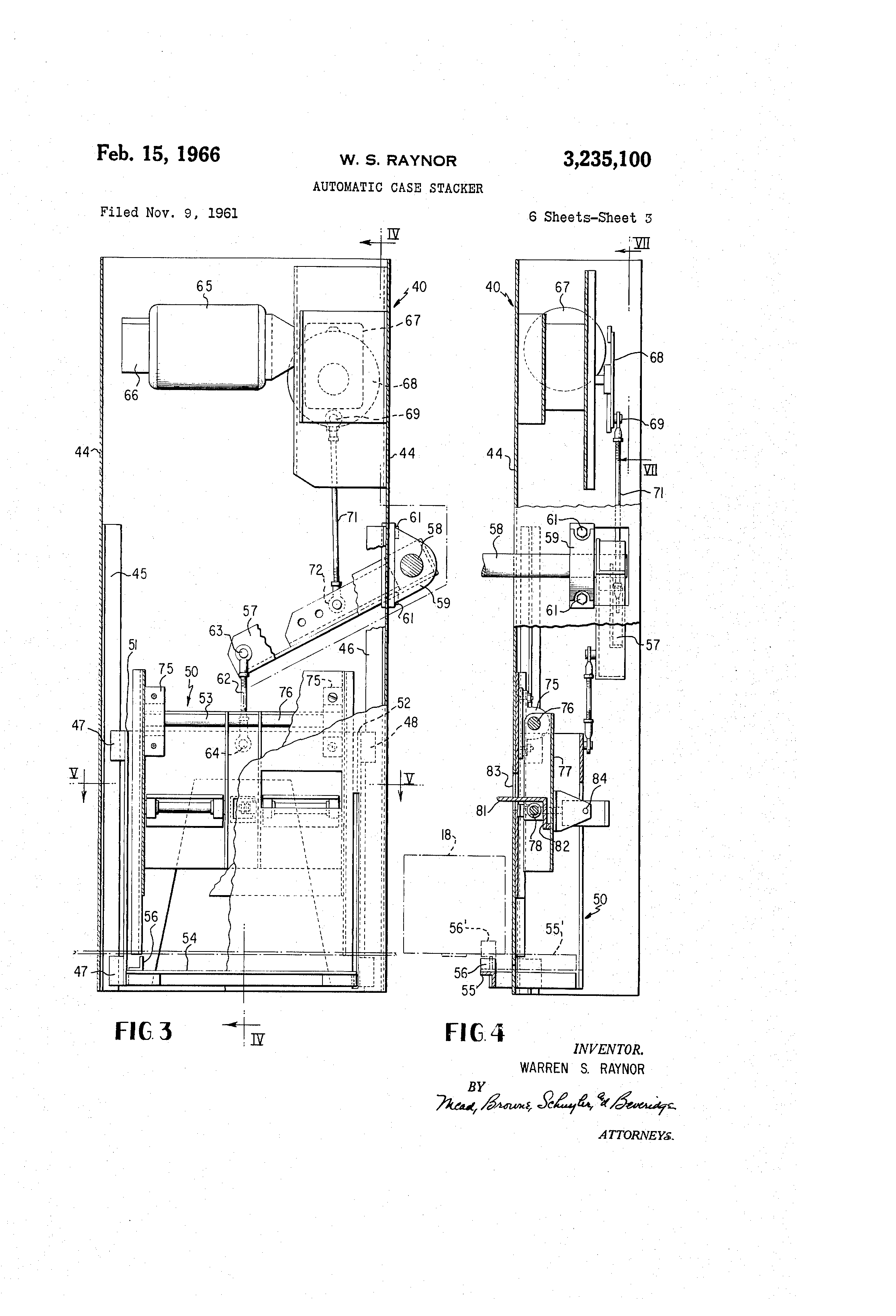 US3235100 2 patent us3235100 automatic case stacker google patents raynor power hoist standard wiring diagram at n-0.co