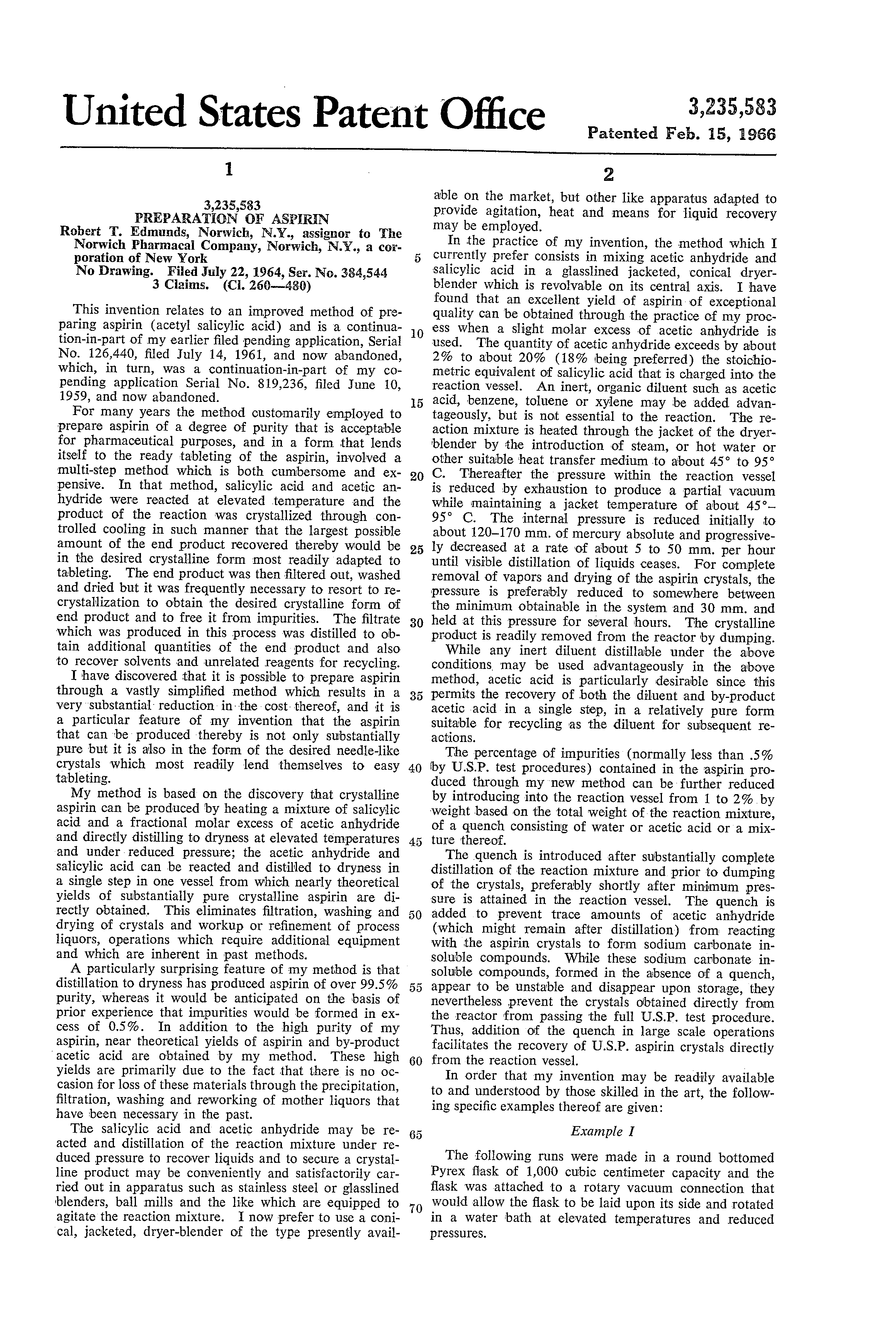 patent us preparation of aspirin patents patent drawing