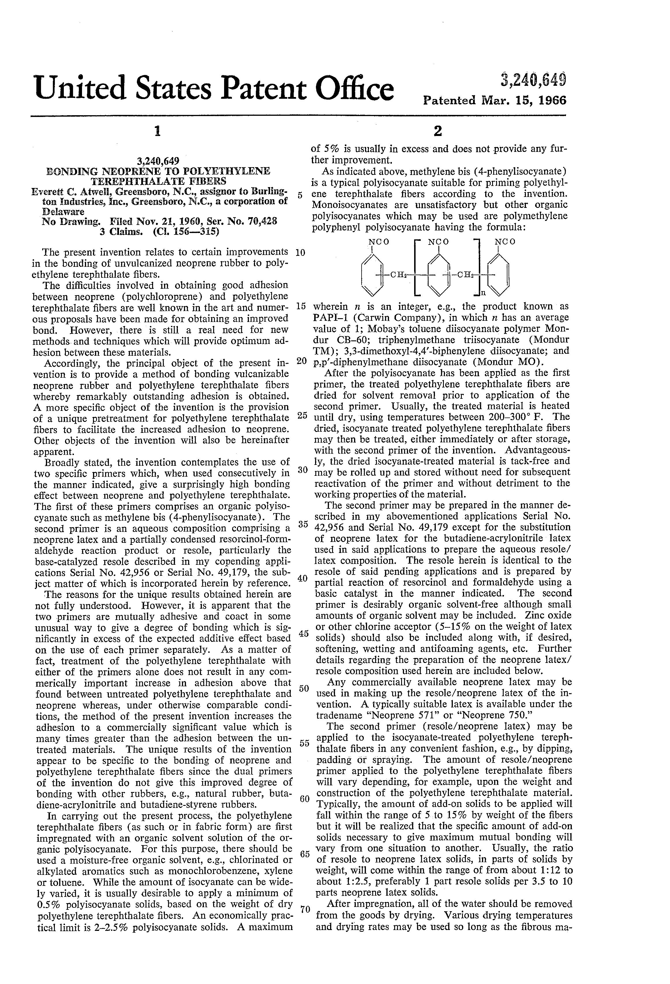 Brevet US3240649 - Bonding neoprene to polyethylene
