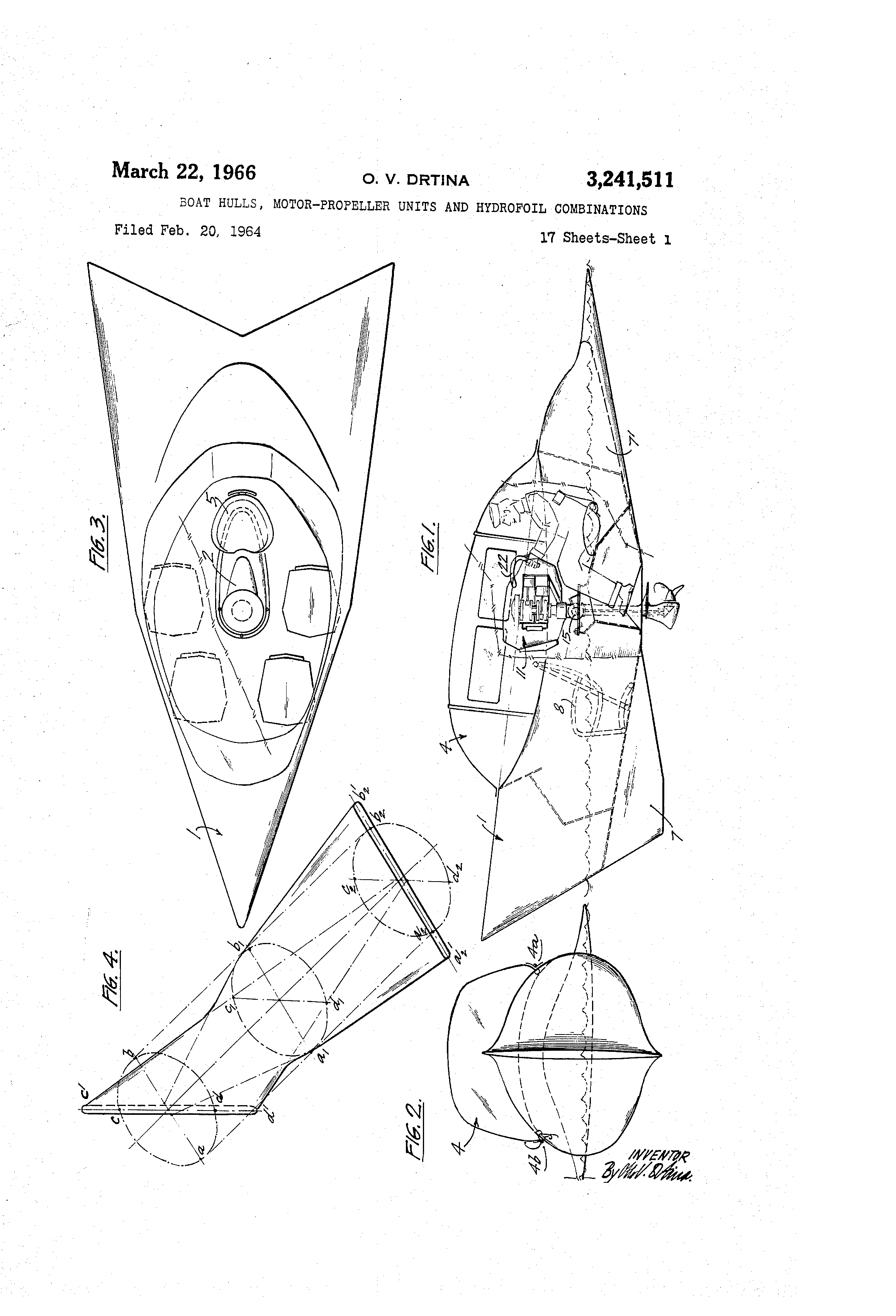patent us3241511 boat hulls motor propeller units and hydrofoil