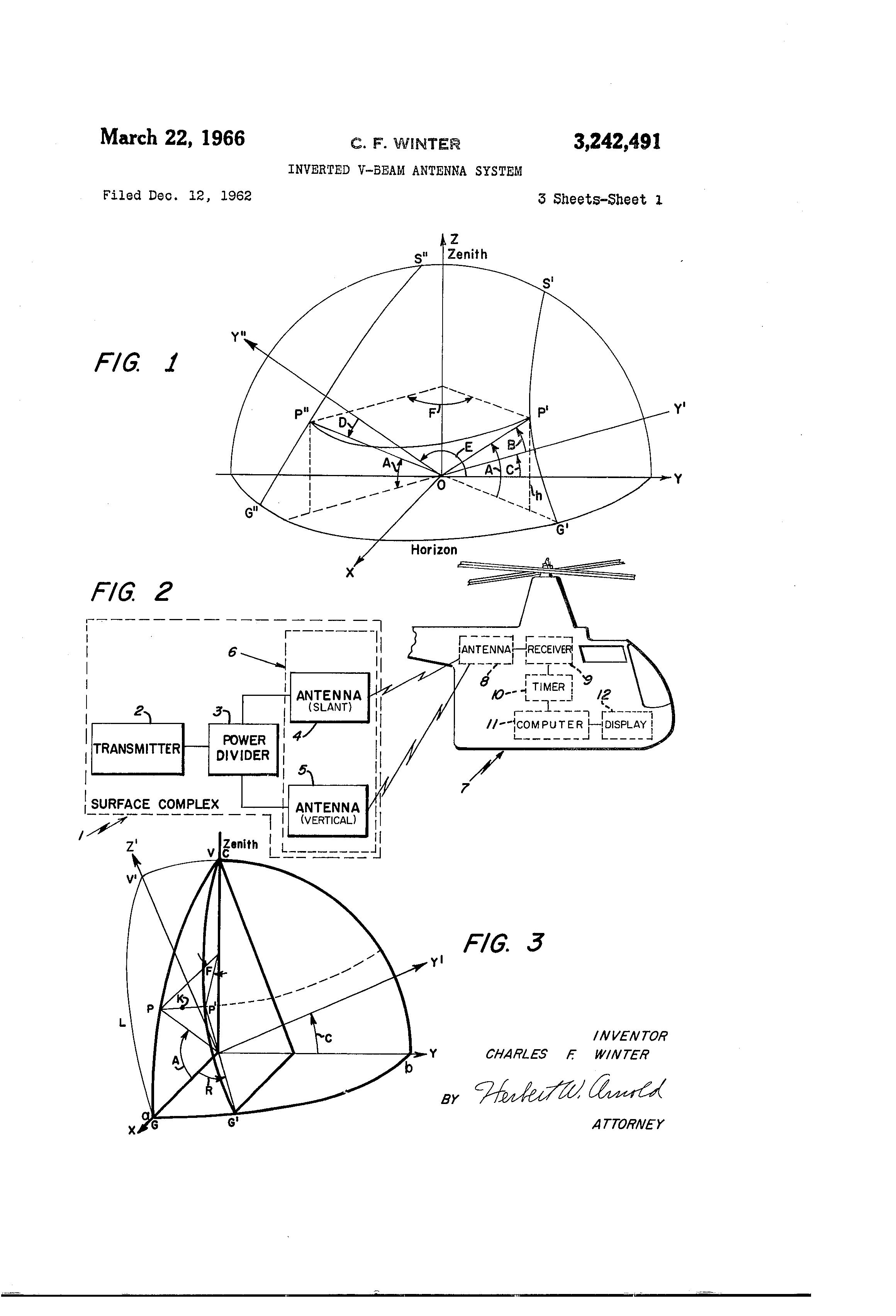 براءة الاختراع Us3242491 Inverted V Beam Antenna System