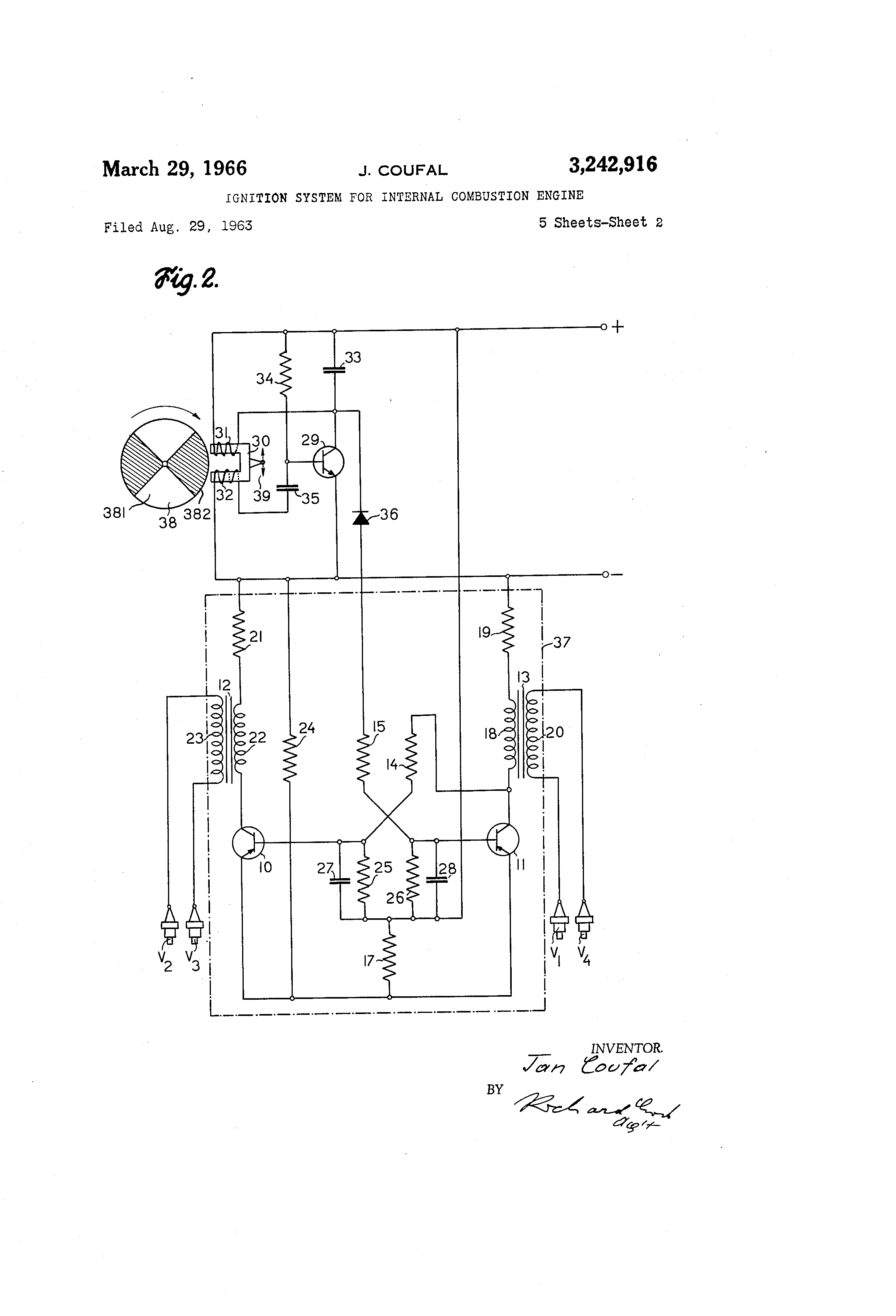 Patent US3242916 Igntion system for internal combustion engine – Labeled Diagram Of Internal Combustion Engine