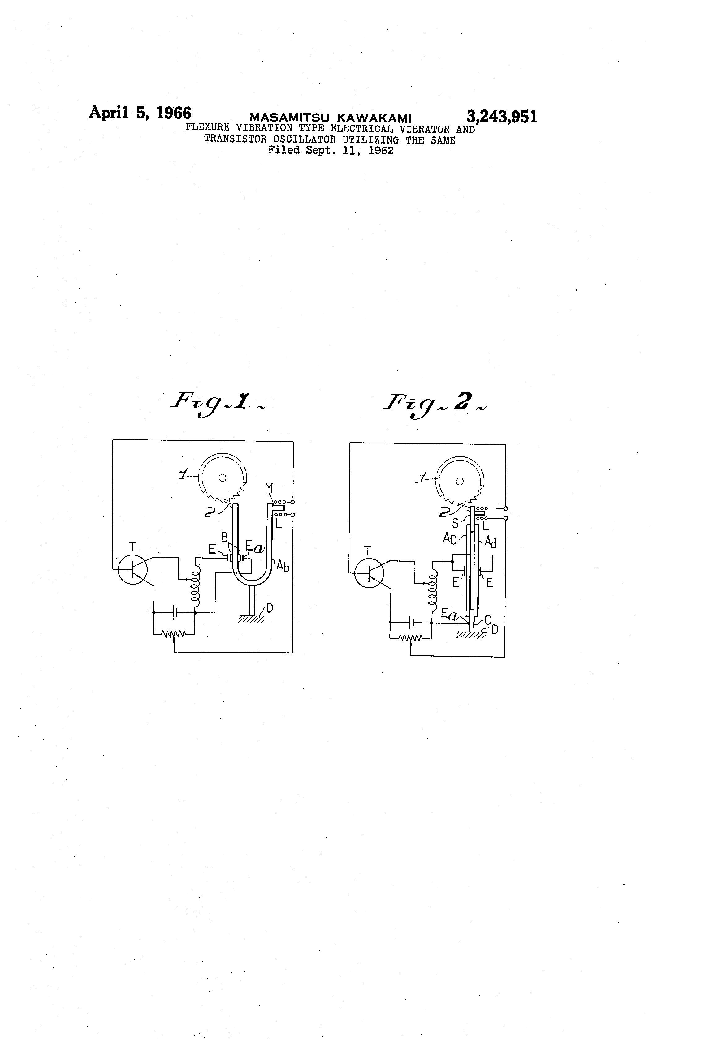 Us3243951 Flexure Vibration Type Electrical Transistor Oscillators Patent Drawing