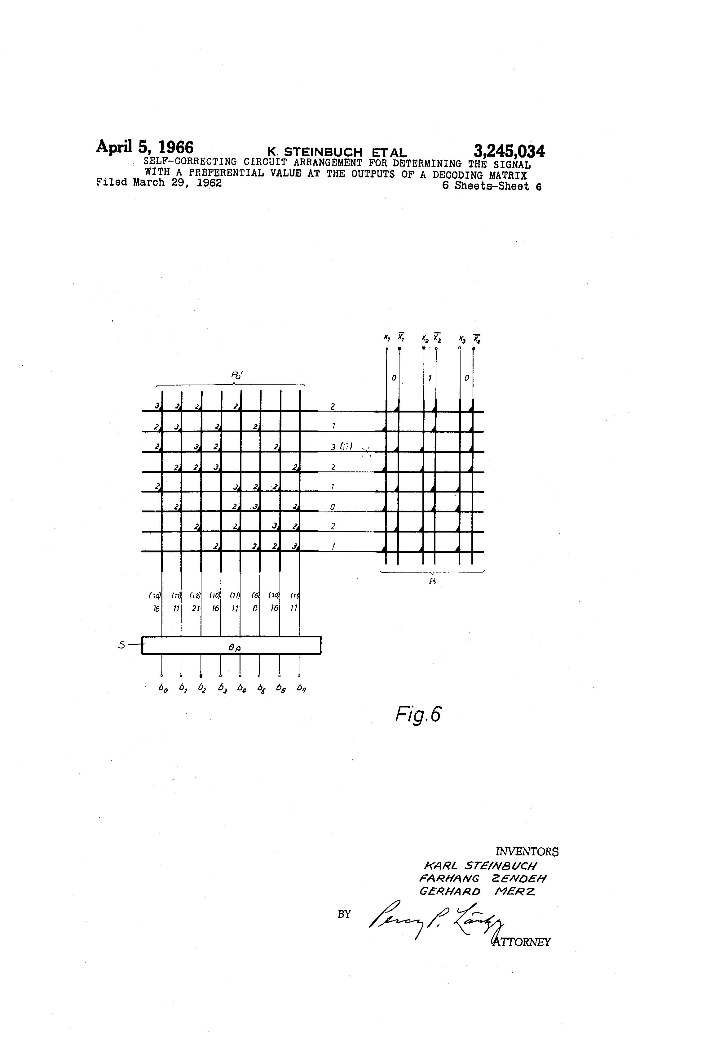 Patent US3245034 - Self-correcting circuit arrangement for ...