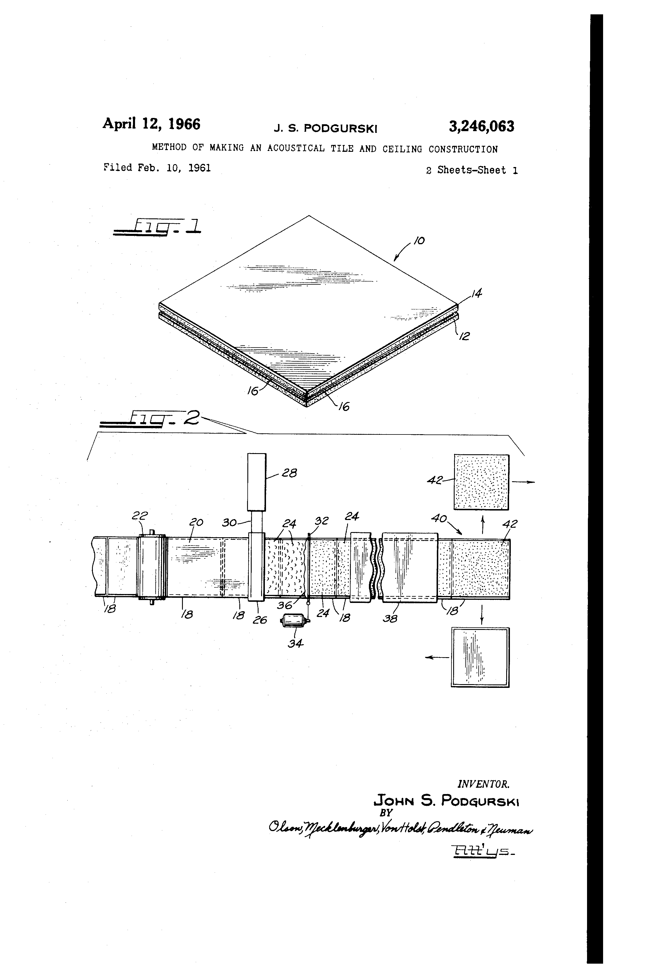 patent us3246063 method of making an acoustical tile and ceiling patent drawing