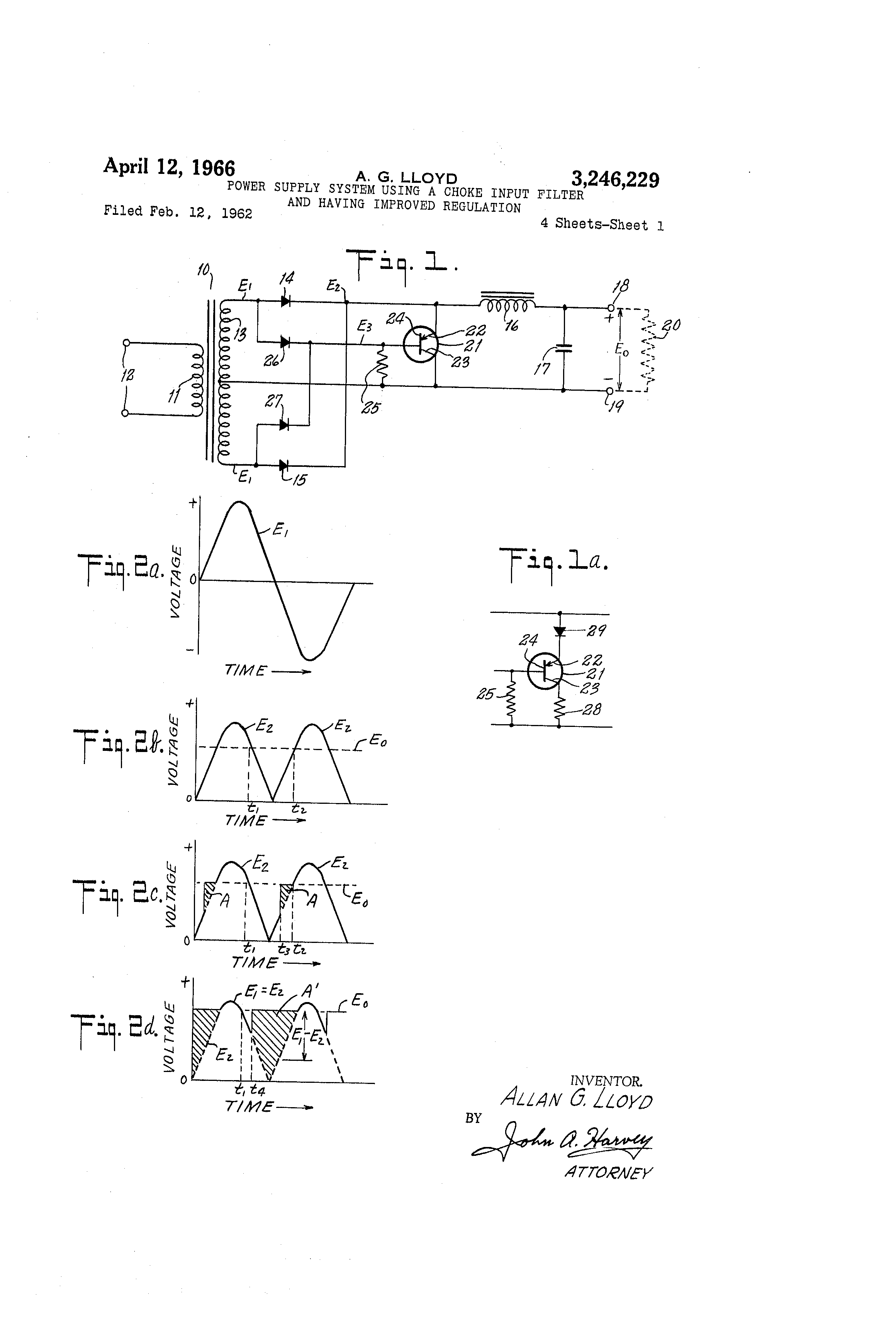 Brevet Us3246229 Power Supply System Using A Choke Input Filter Full Wave Rectifier Circuit With Averaging Pictures Patent Drawing