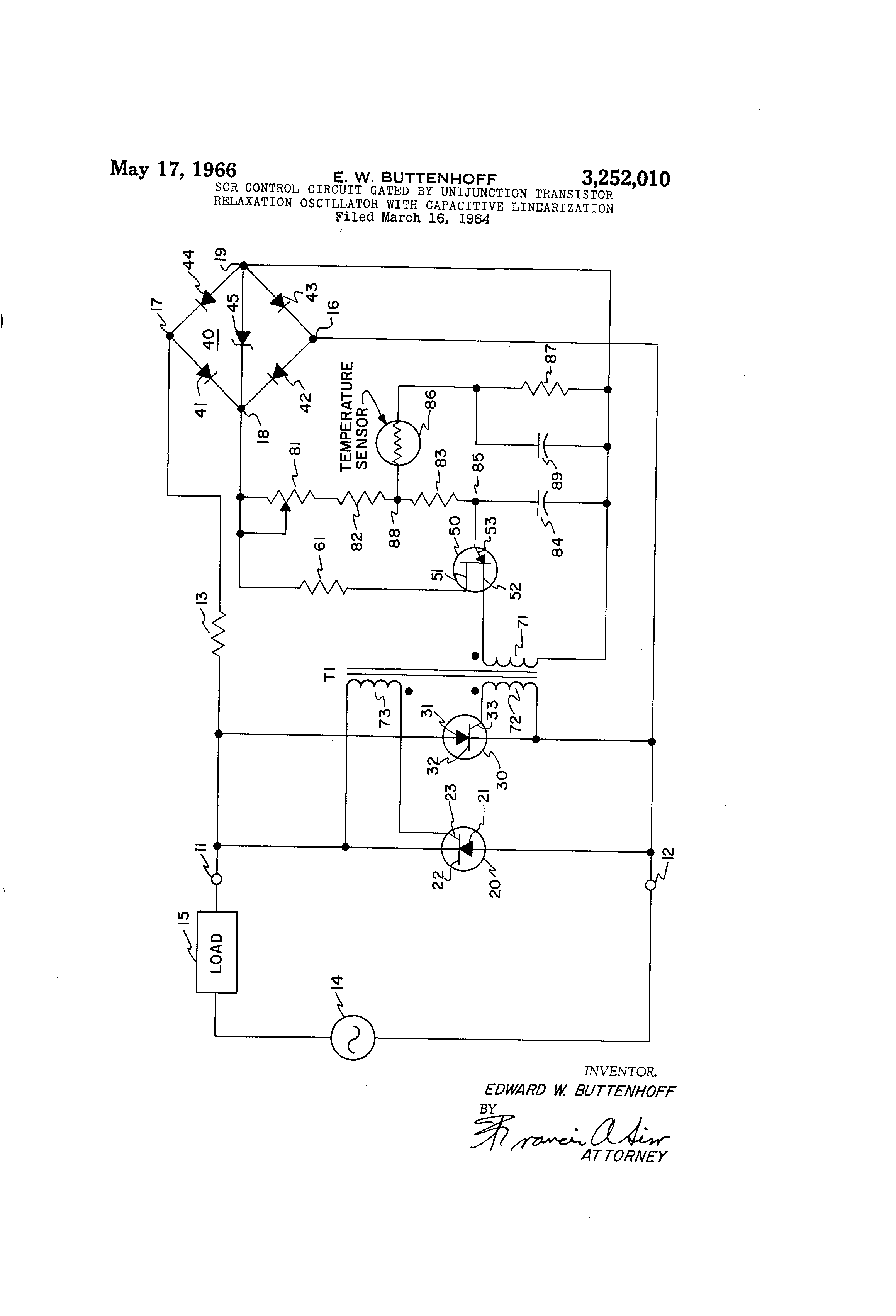 Patent Us3252010 Scr Control Circuit Gated By Unijunction Of Polarity Switch Controlcircuit Diagram Drawing