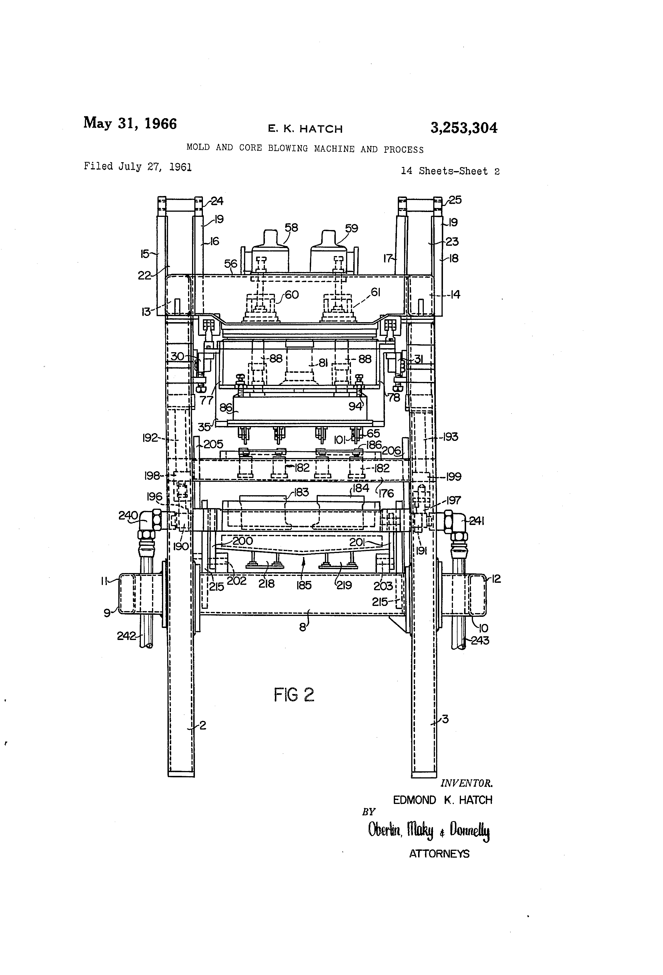 US3253304 1 patent us3253304 mold and core blowing machine and process  at bayanpartner.co