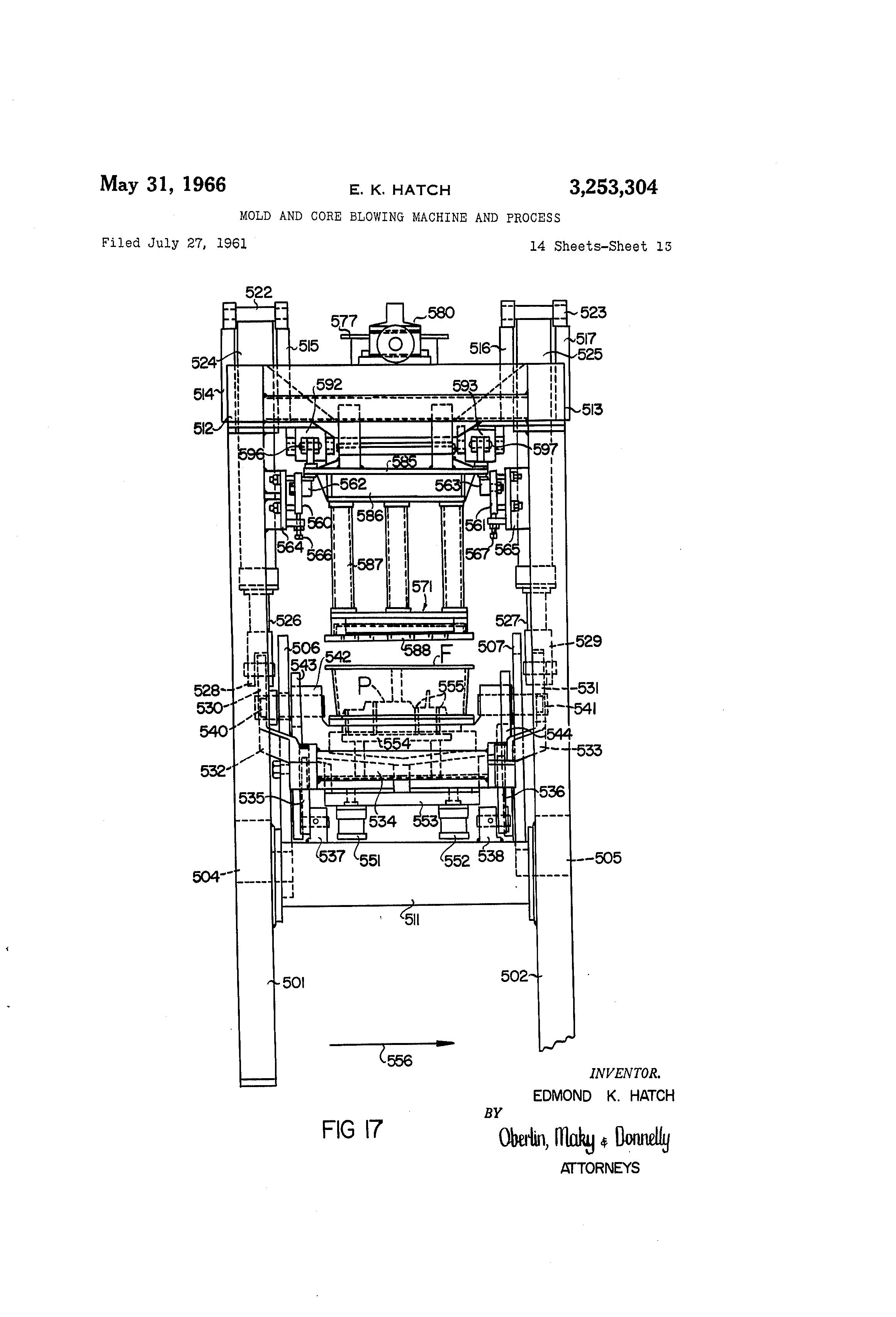 US3253304 12 patent us3253304 mold and core blowing machine and process  at mifinder.co