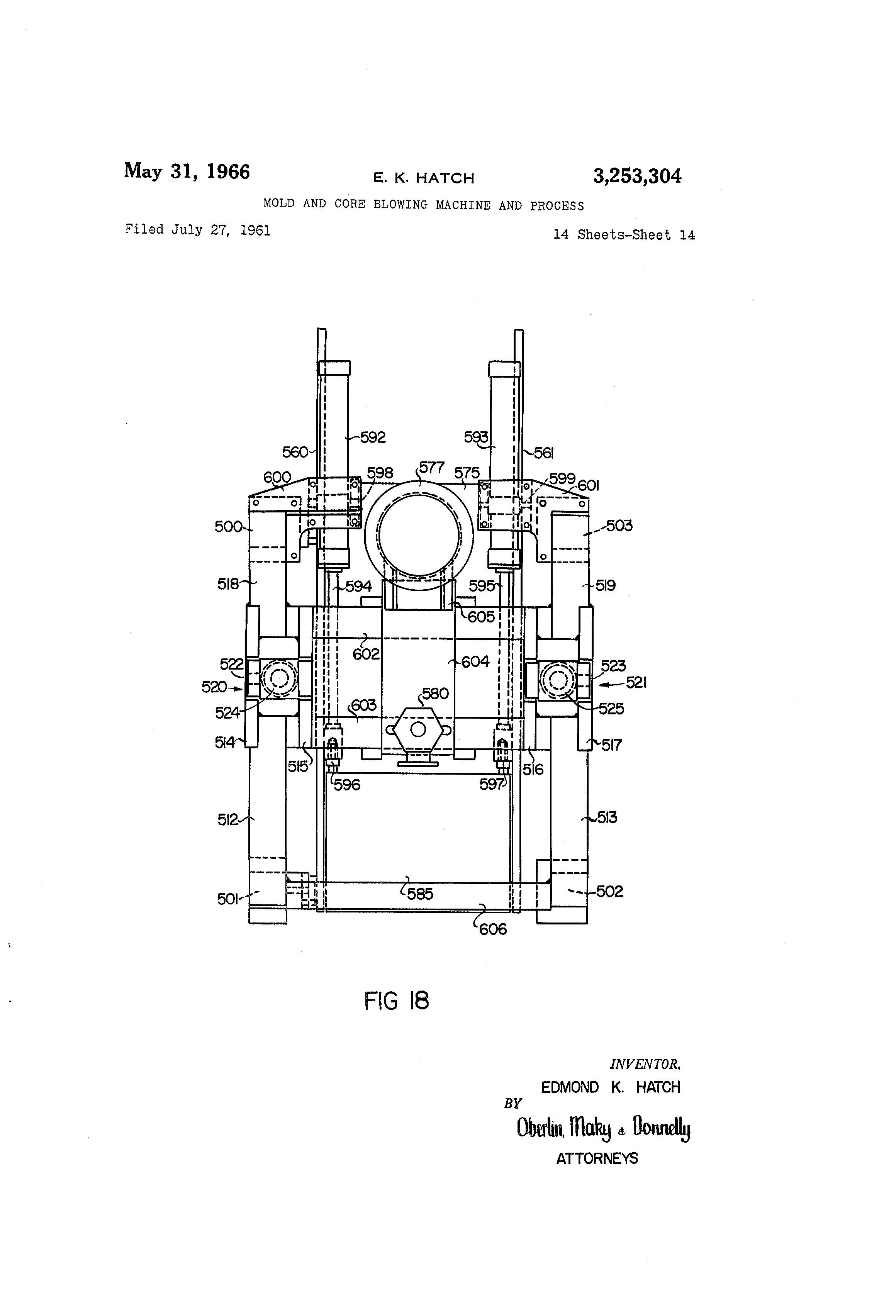 US3253304 13 patent us3253304 mold and core blowing machine and process  at n-0.co