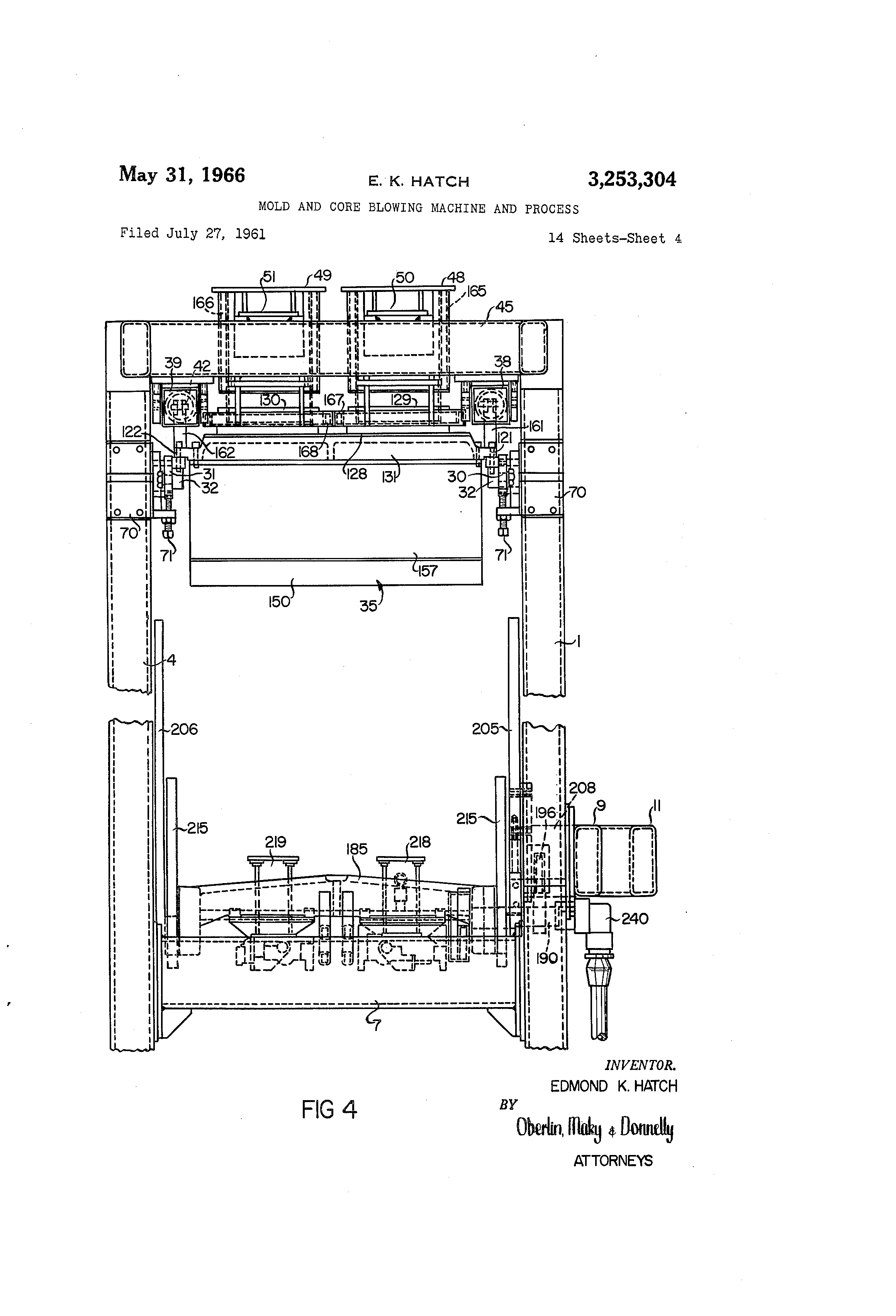 US3253304 3 patent us3253304 mold and core blowing machine and process  at crackthecode.co