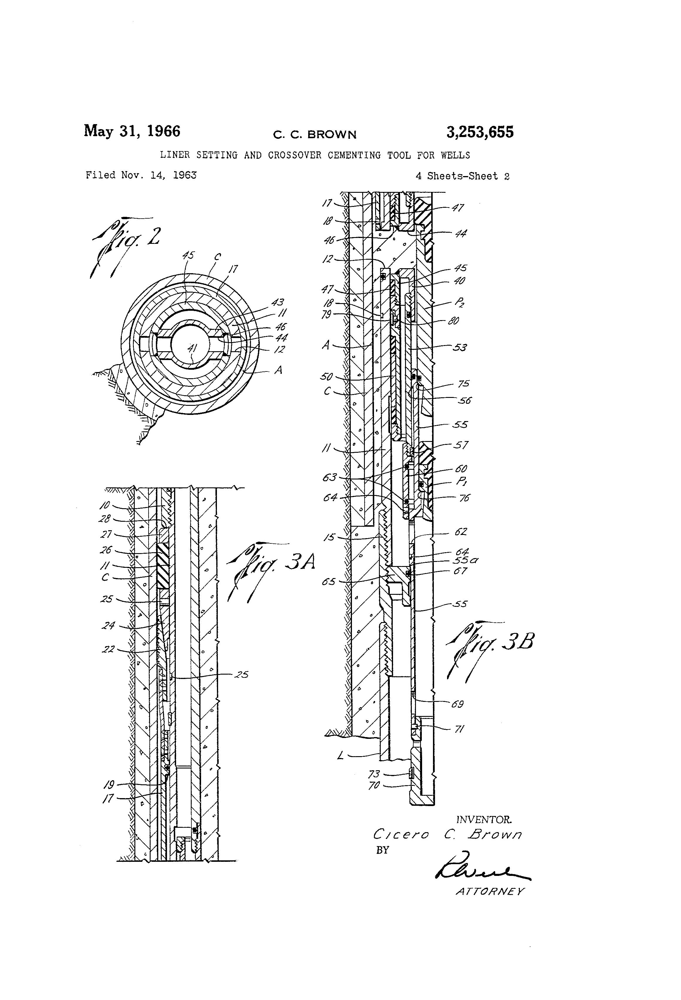 براءة الاختراع US3253655 - Liner setting and crossover cementing