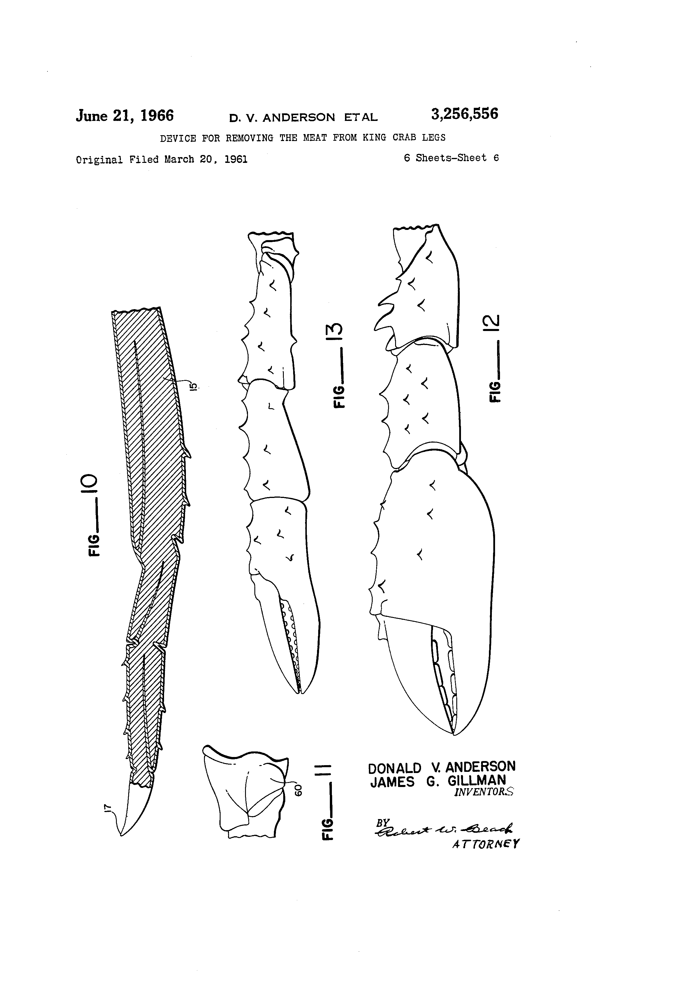 patent us3256556 device for removing the meat from king crab