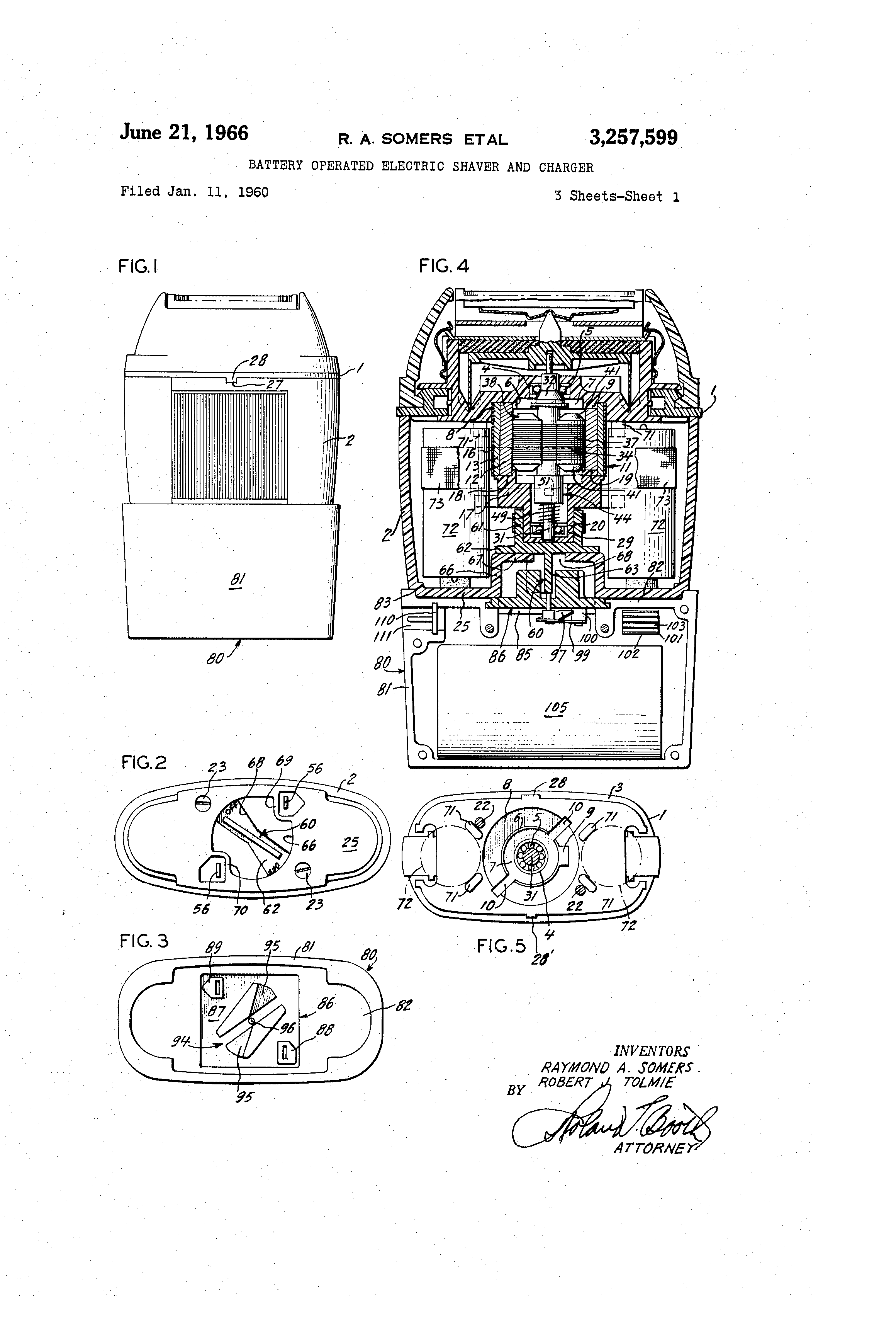 US3257599 0 patent us3257599 battery operated electric shaver and charger shaver socket wiring diagram at panicattacktreatment.co
