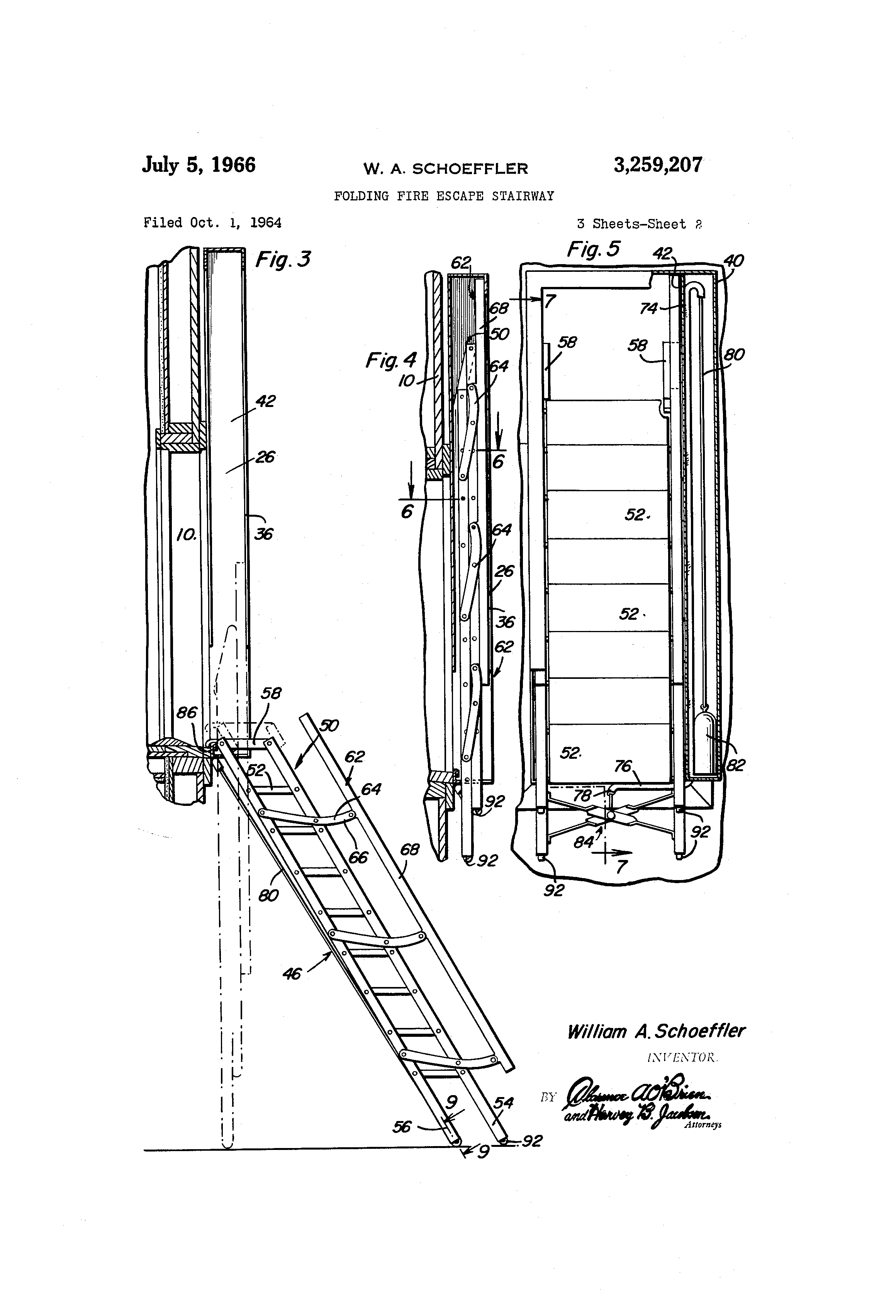 Patent Us3259207 Folding Fire Escape Stairway Google