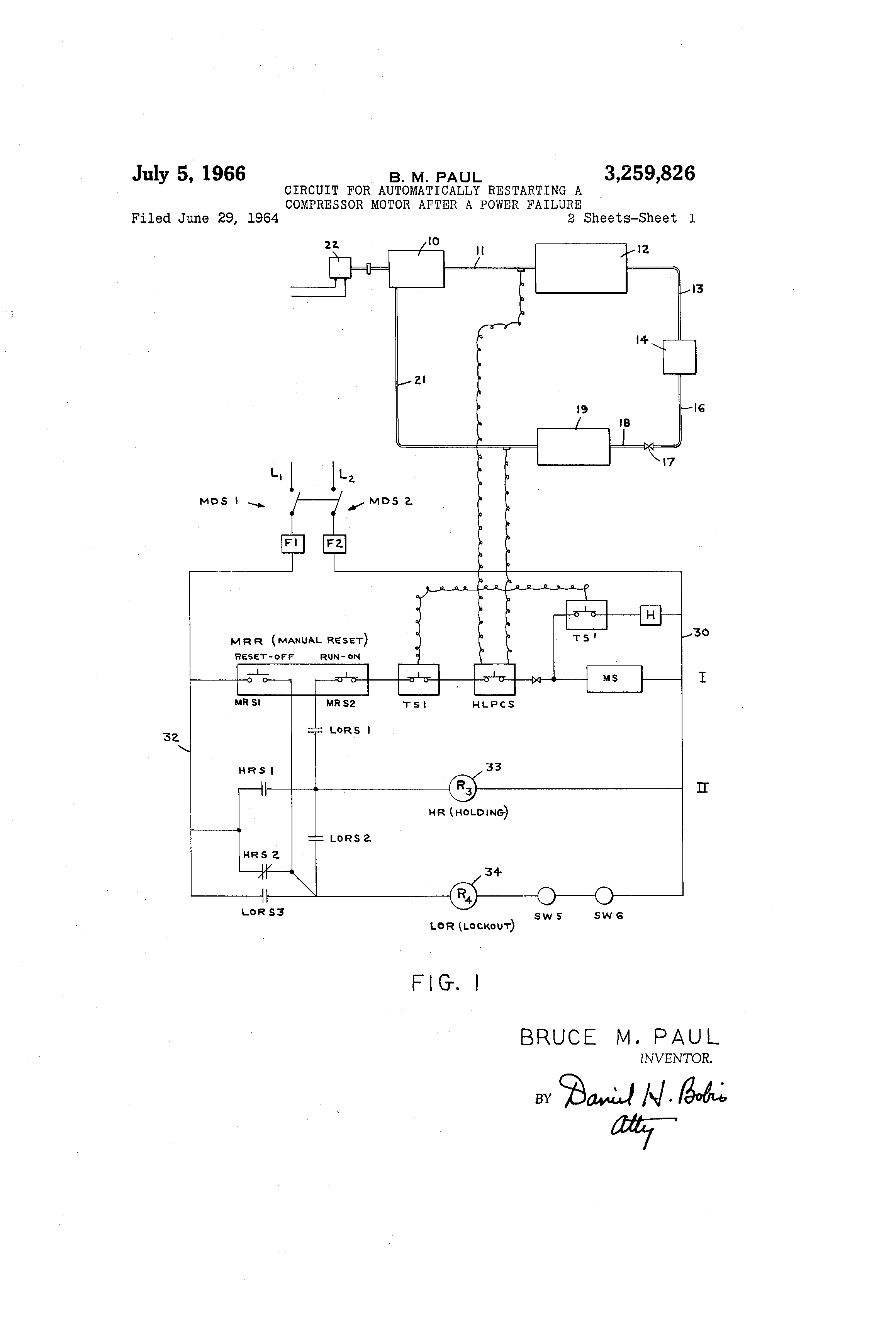Patent US Circuit For Automatically Restarting A - Normally open timed closed relay