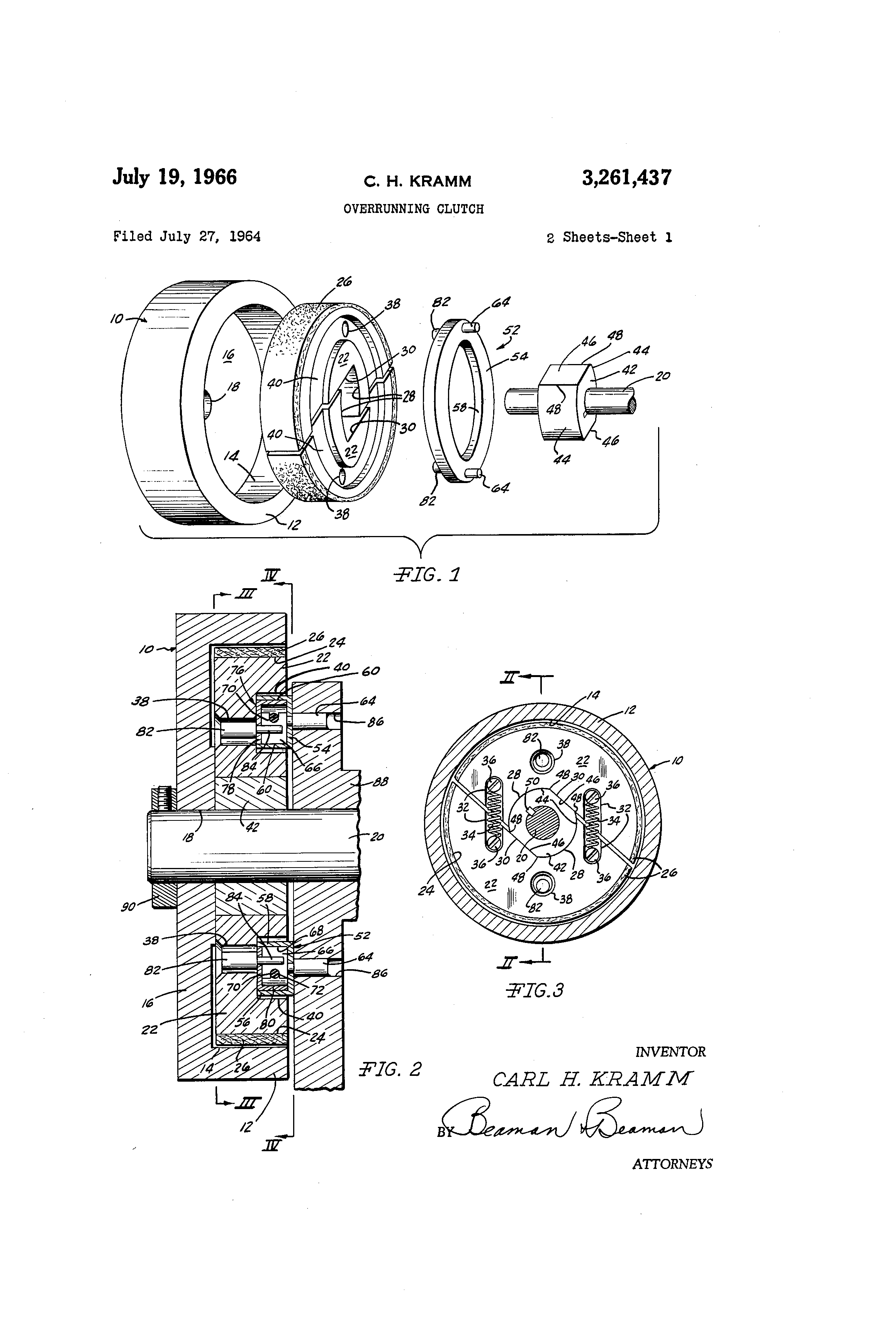 Patent US3261437 - Overrunning clutch - Google Patents
