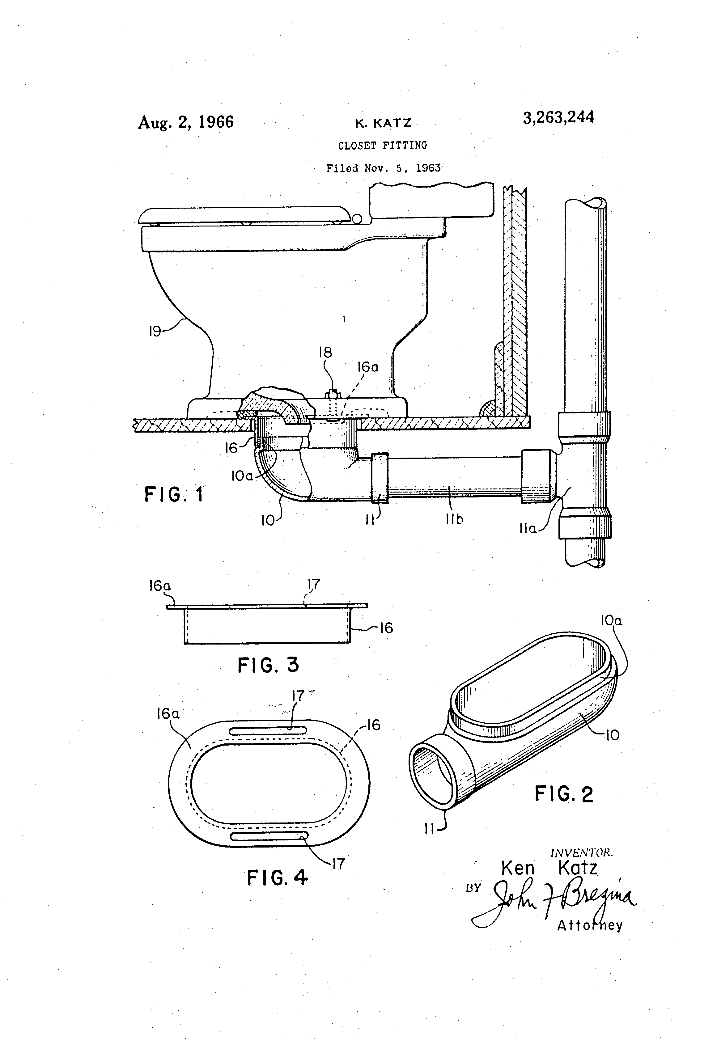 Patent Us3263244 Closet Fitting Google Patents