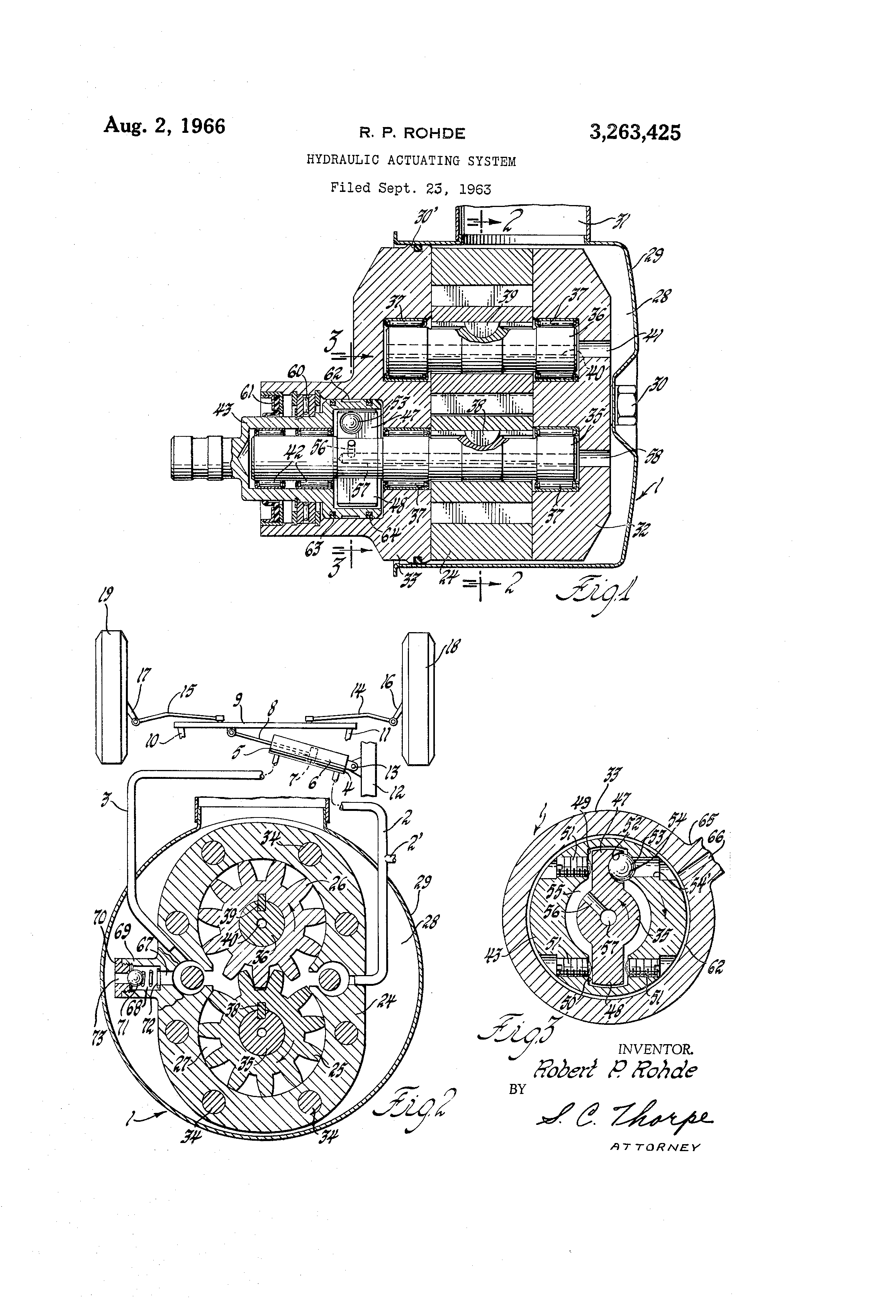 Patent US3263425 - Hydraulic actuating system - Google Patents