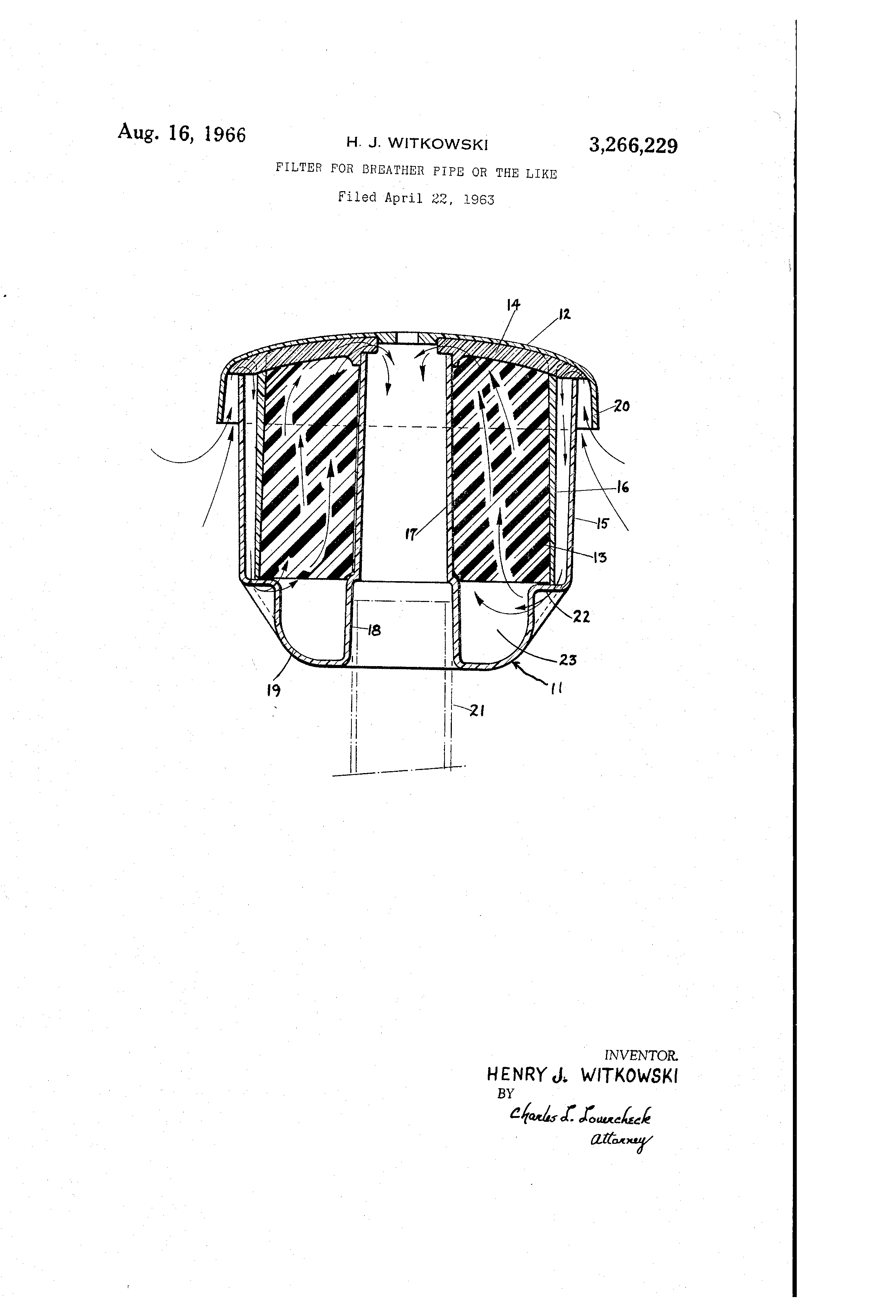 patent us3266229 filter for breather pipe or the like patents Customized Henry J patent drawing