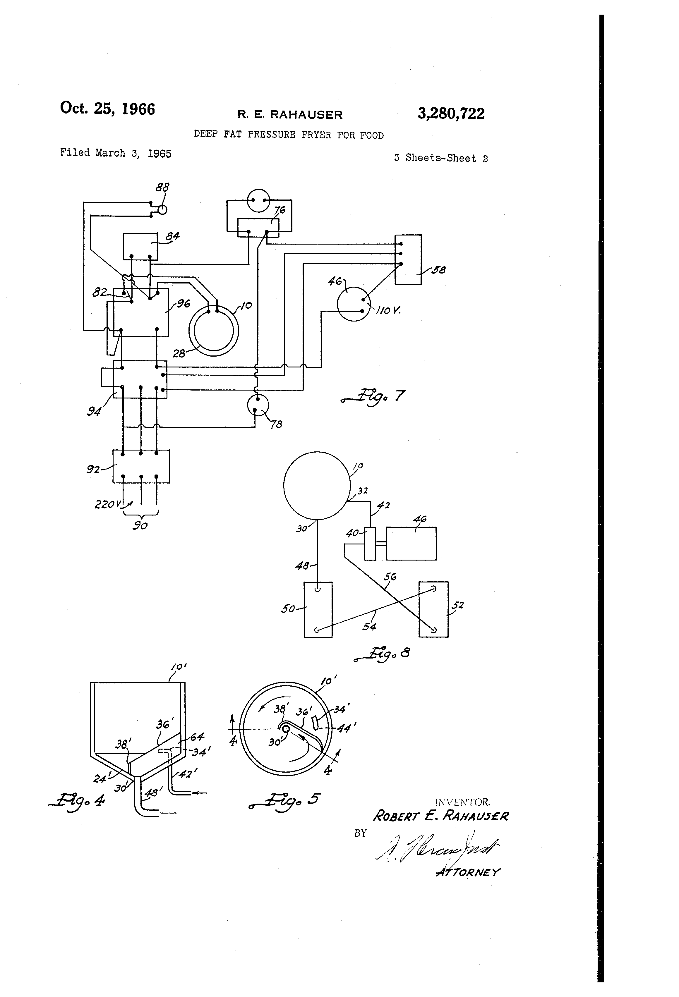 patent us3280722 - deep fat pressure fryer for food