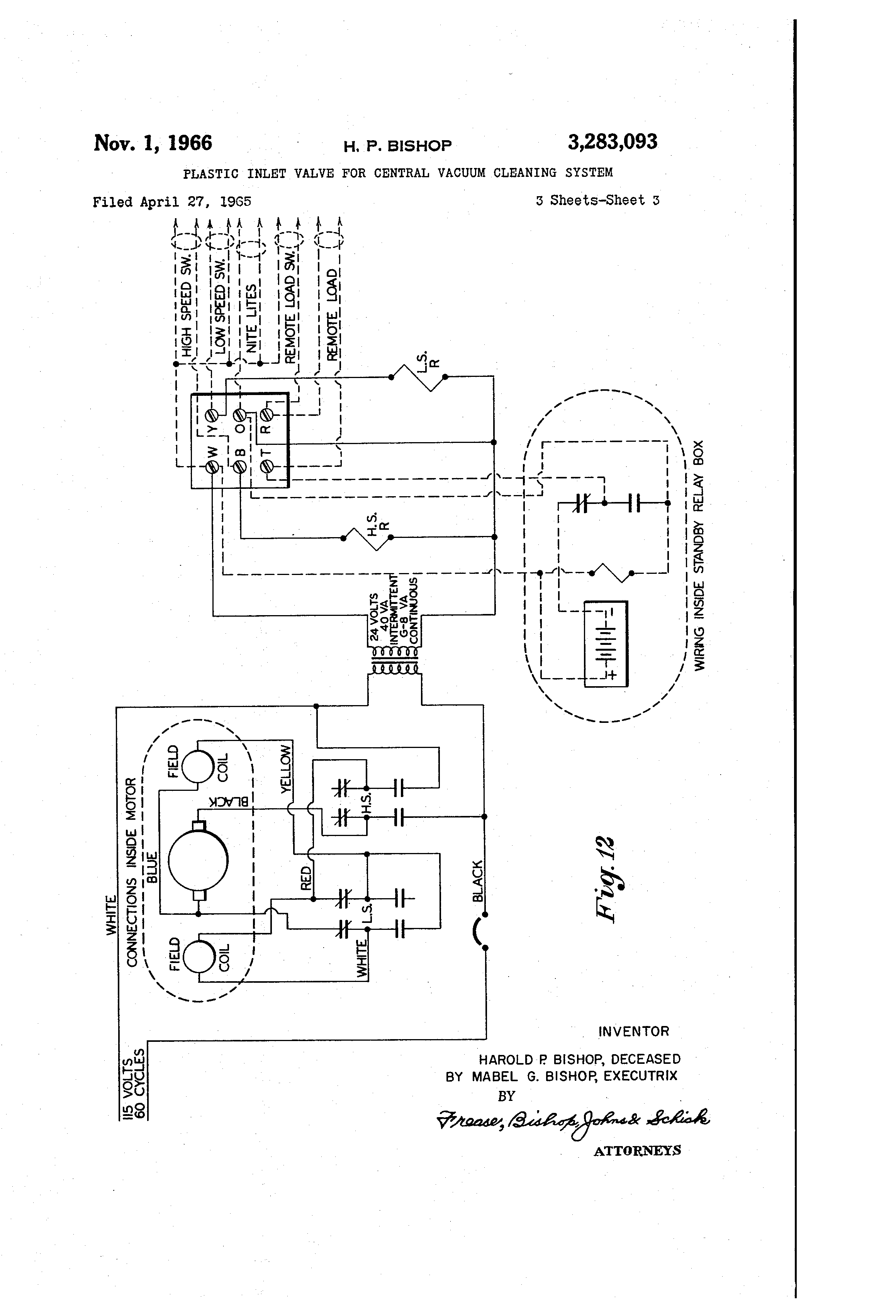 US3283093 2 central vac wiring diagram central vacuum low voltage wiring henry vacuum wiring diagram at fashall.co