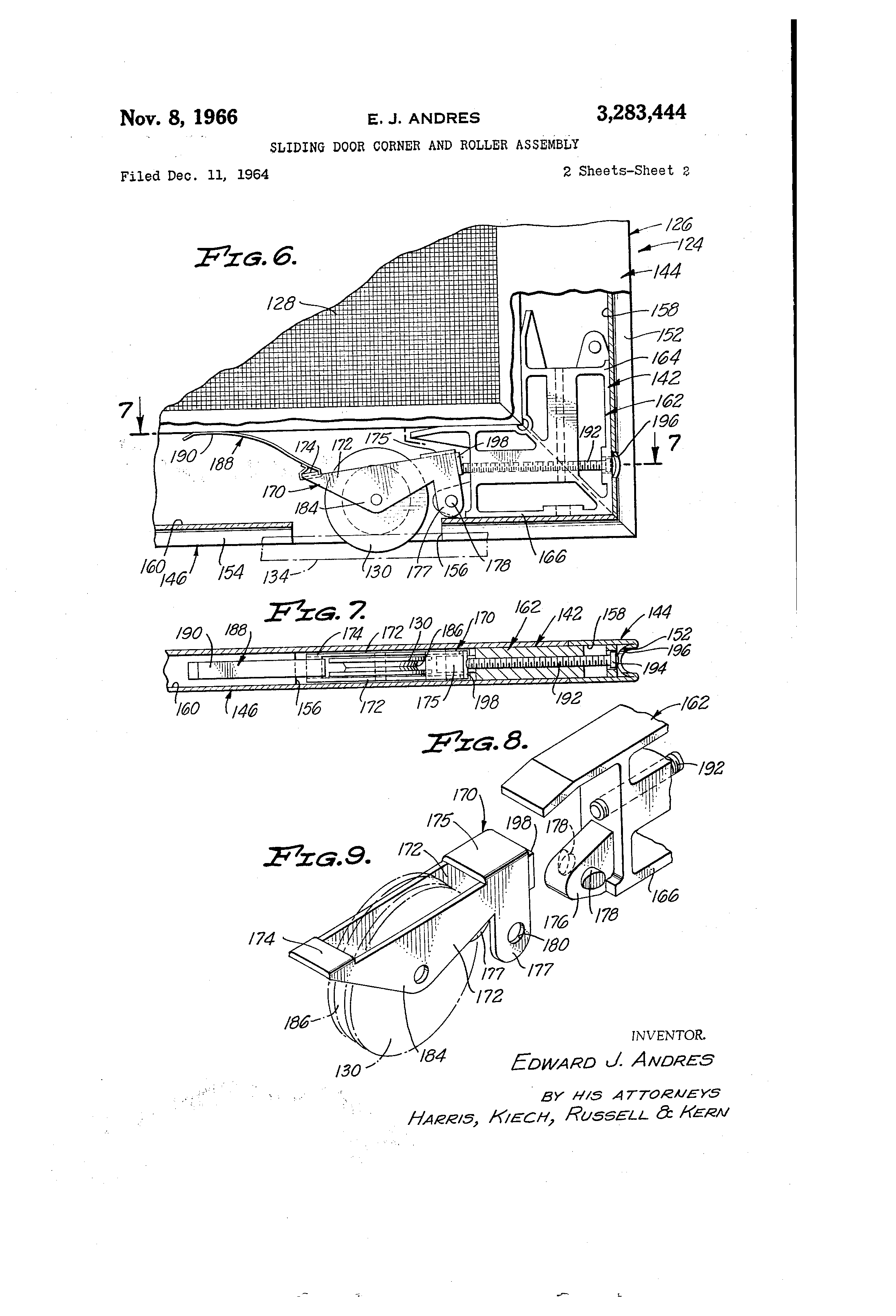 Patent Us3283444 Sliding Door Corner And Roller Assembly