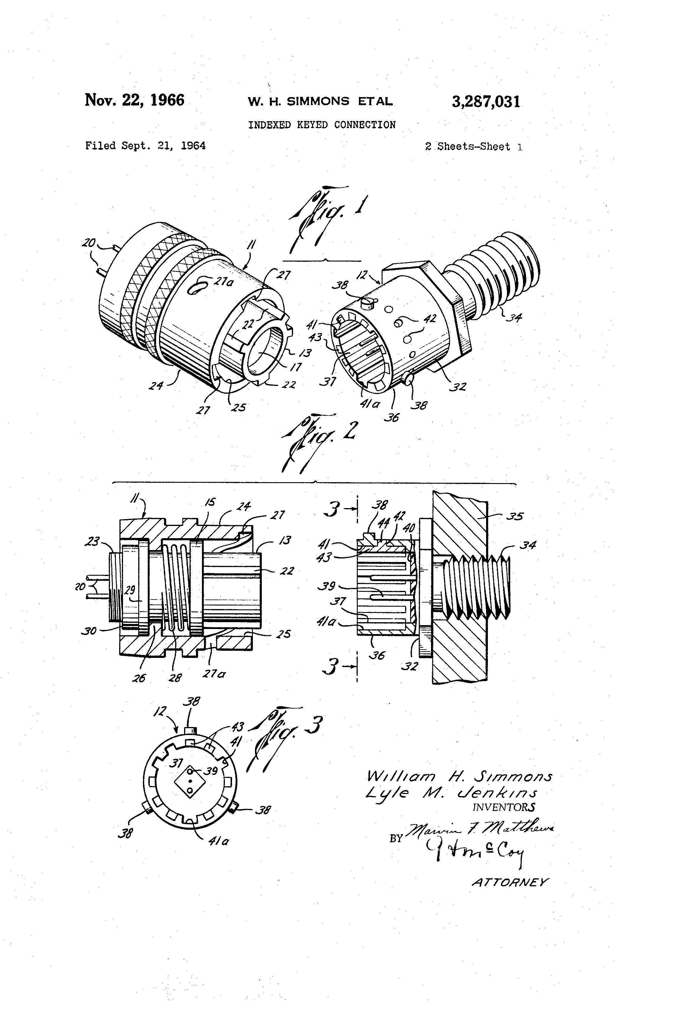 Patent Us3287031 Indexed Keyed Connection Google Patents As Bremas Rotary Switch Wiring Diagram Moreover Timer Drawing