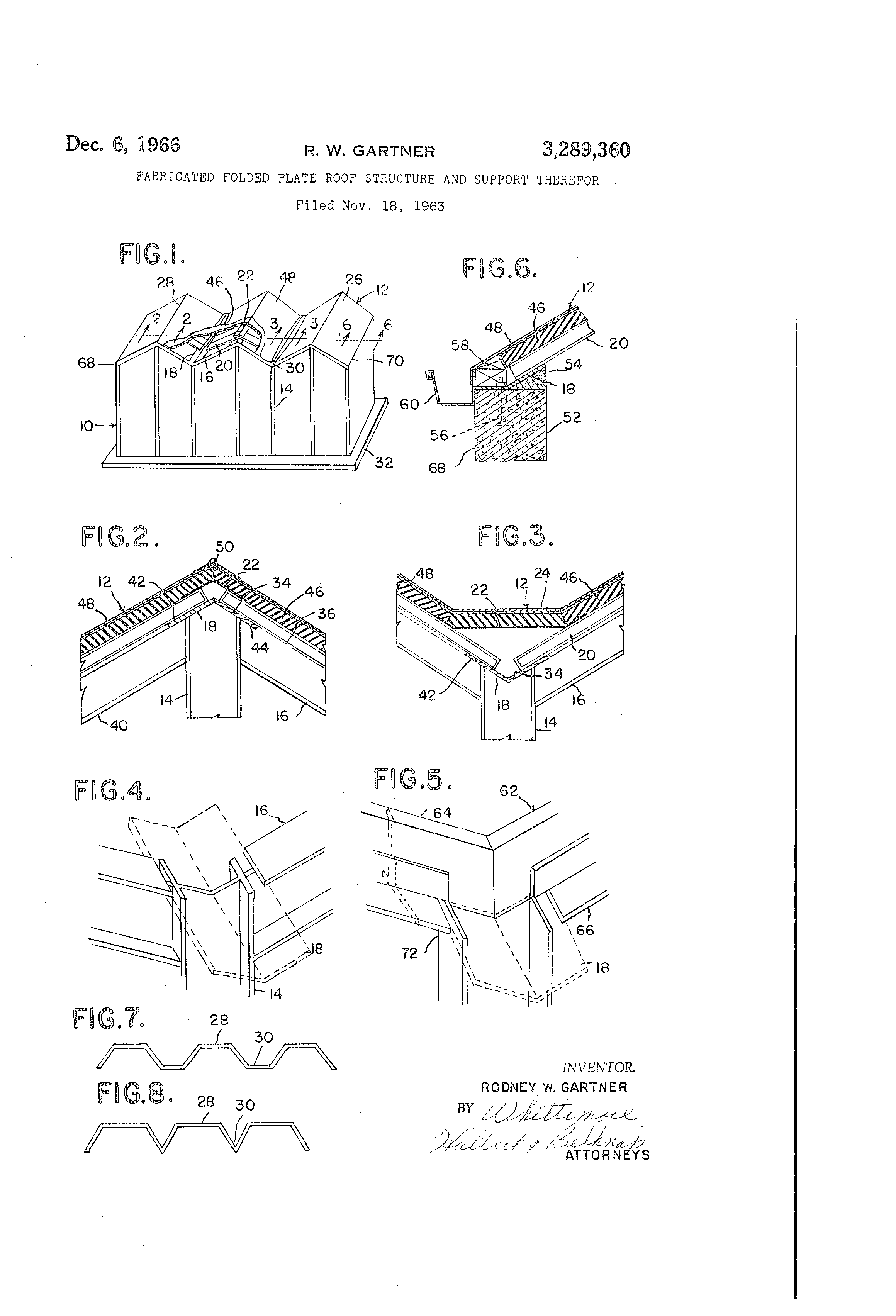patent us fabricated folded plate roof structure and